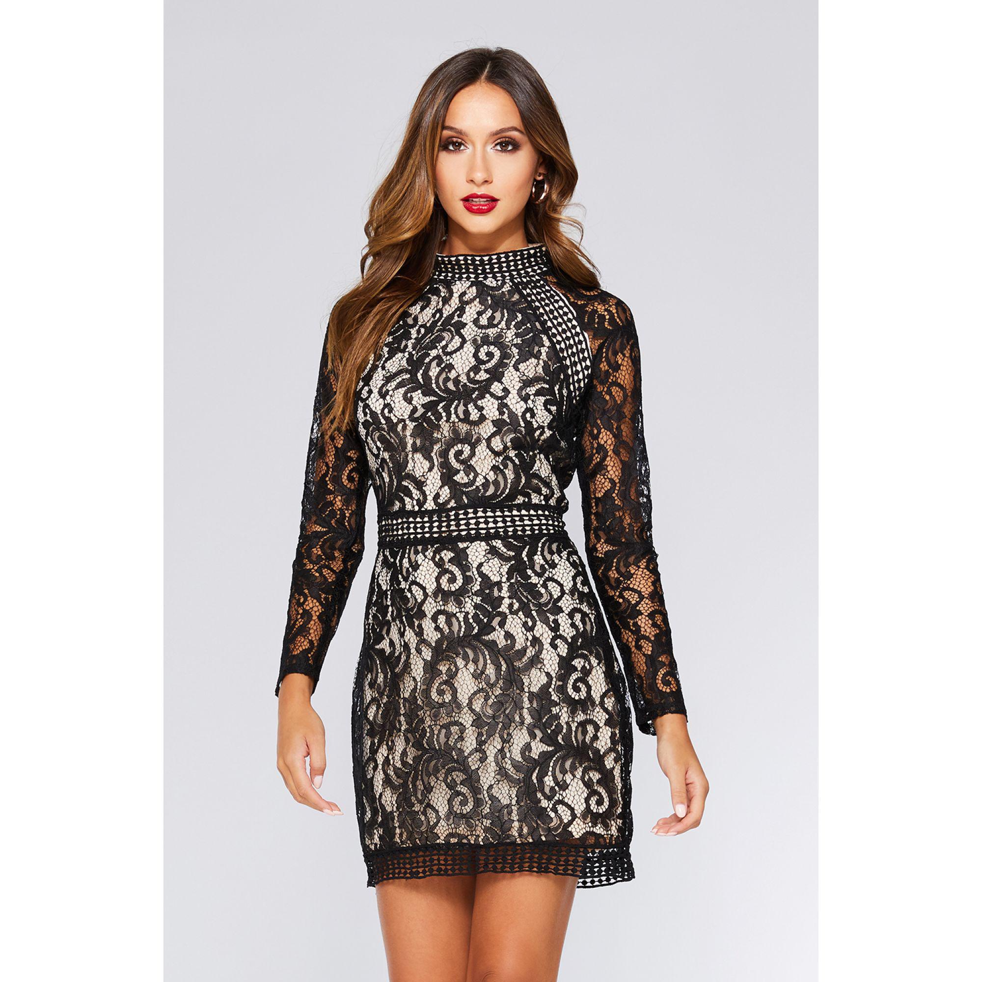 9f1f40f5bf Quiz Black And Stone Lace Mini Dress in Black - Lyst