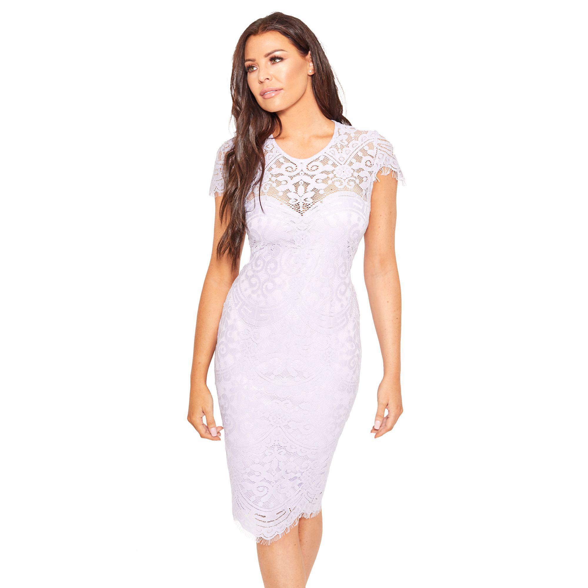4a710209 Lipstick Boutique Lilac Purple 'siya' Midi Bodycon Dress With Cap ...
