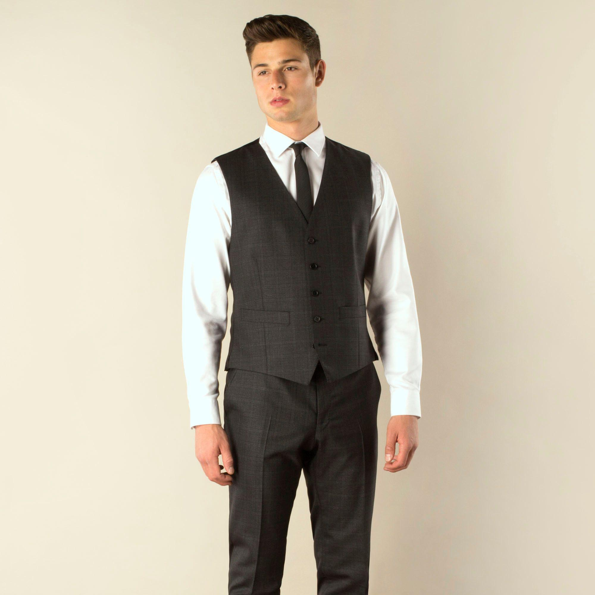 66039908b590be Ben Sherman. Men's Gray Charcoal Check 5 Button Camden Skinny Fit Suit  Waistcoat