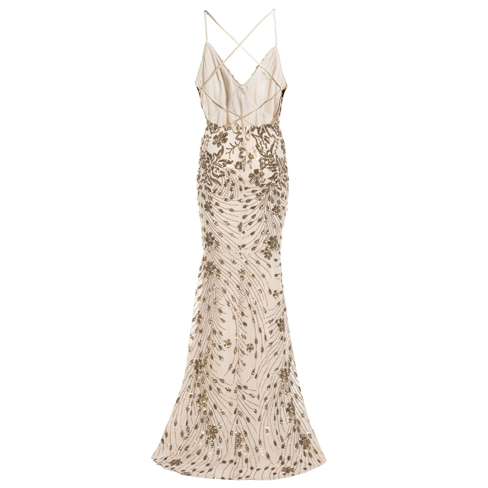 2bc90e7c299 Quiz - Metallic Champagne Sequin Cross Back Fishtail Maxi Dress - Lyst.  View fullscreen