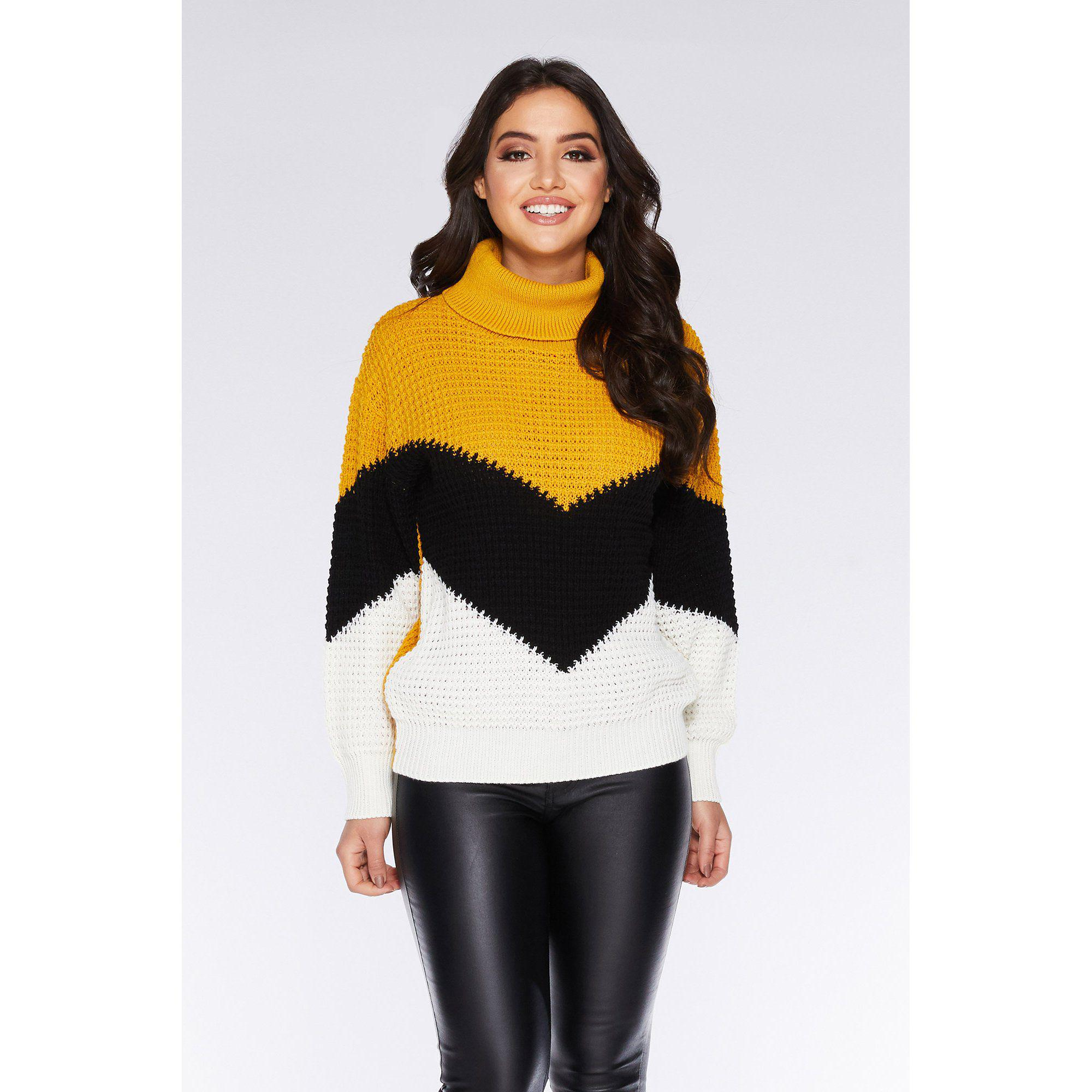 10dd12cd9 Quiz Mustard Black And Cream Chevron Knit Jumper in Yellow - Lyst