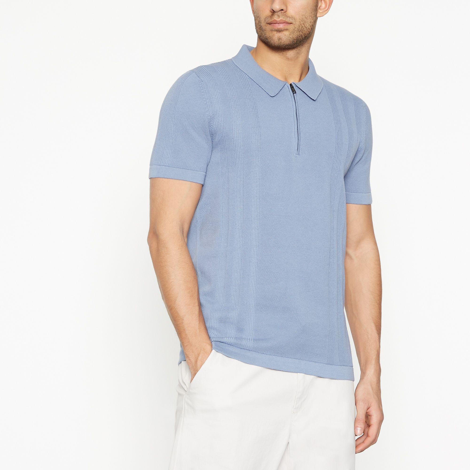 613271e4 J By Jasper Conran Blue Vertical Striped Knitted Polo Shirt in Blue ...