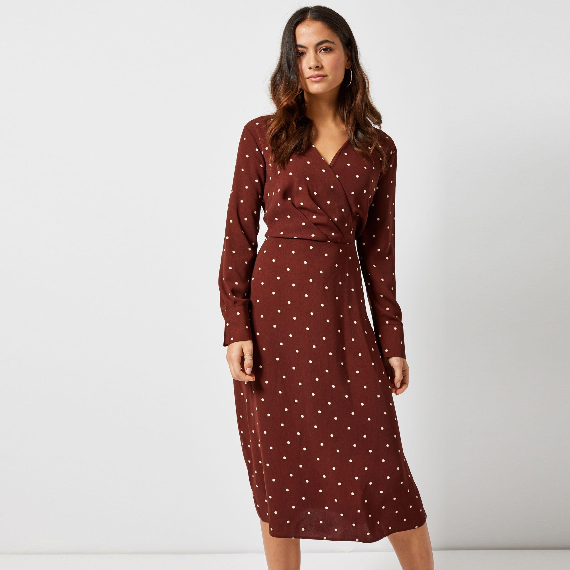 28bf4908a89 Dorothy Perkins. Women s Brown Petite Ginger Spot Print Midi Skater Dress