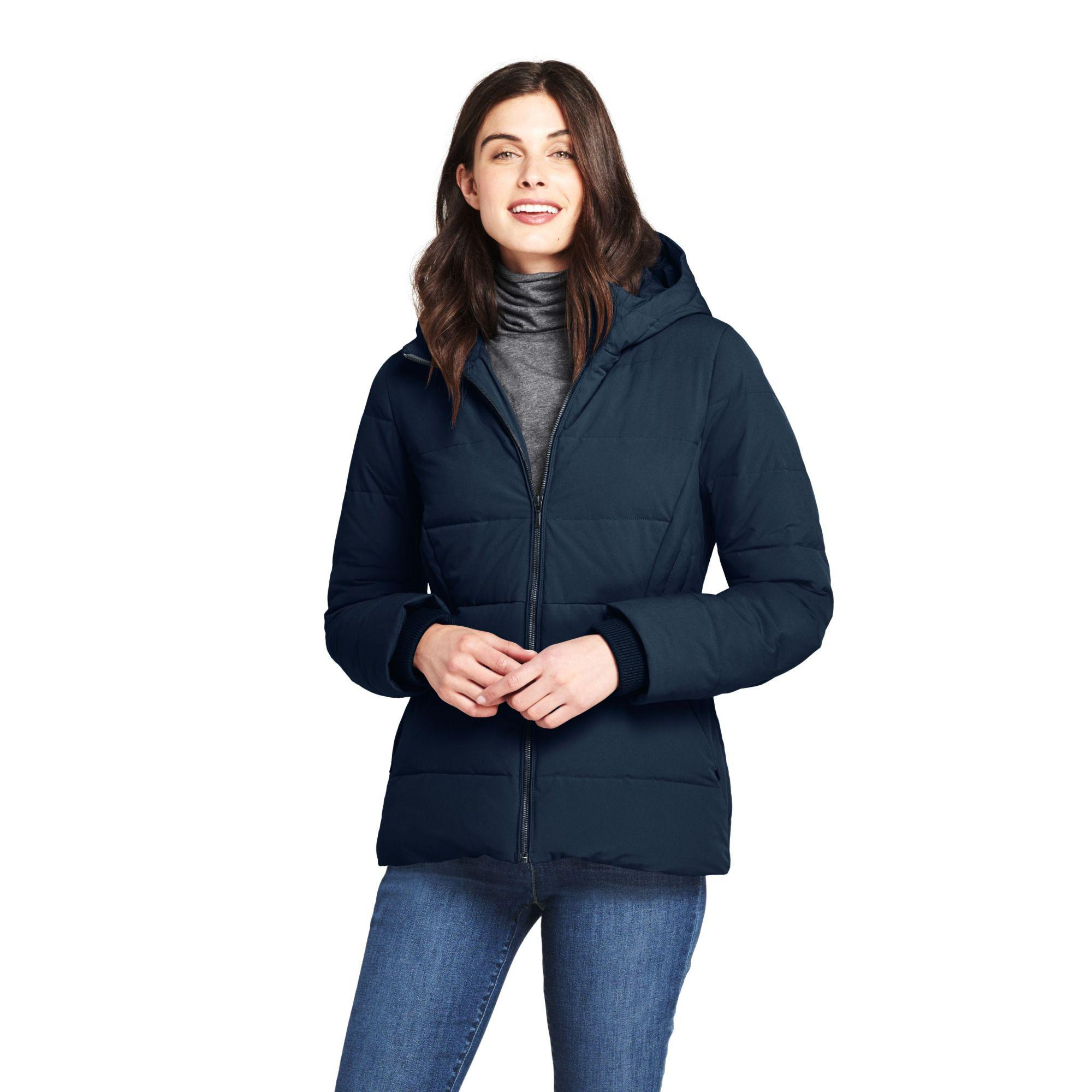 2dbdf7b21d3 Lands  End. Women s Blue Plus Hooded Faux Fur Lined Down Jacket With Stretch