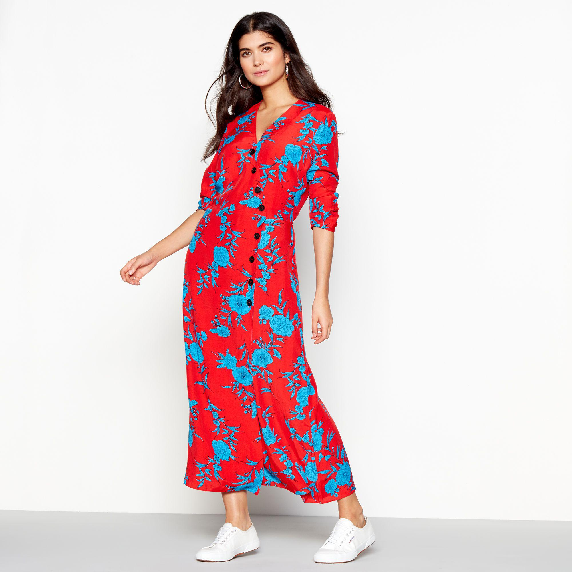 8d8da96471e Red Herring Red Floral Print  cordelia  Long Sleeve Maxi Dress in ...