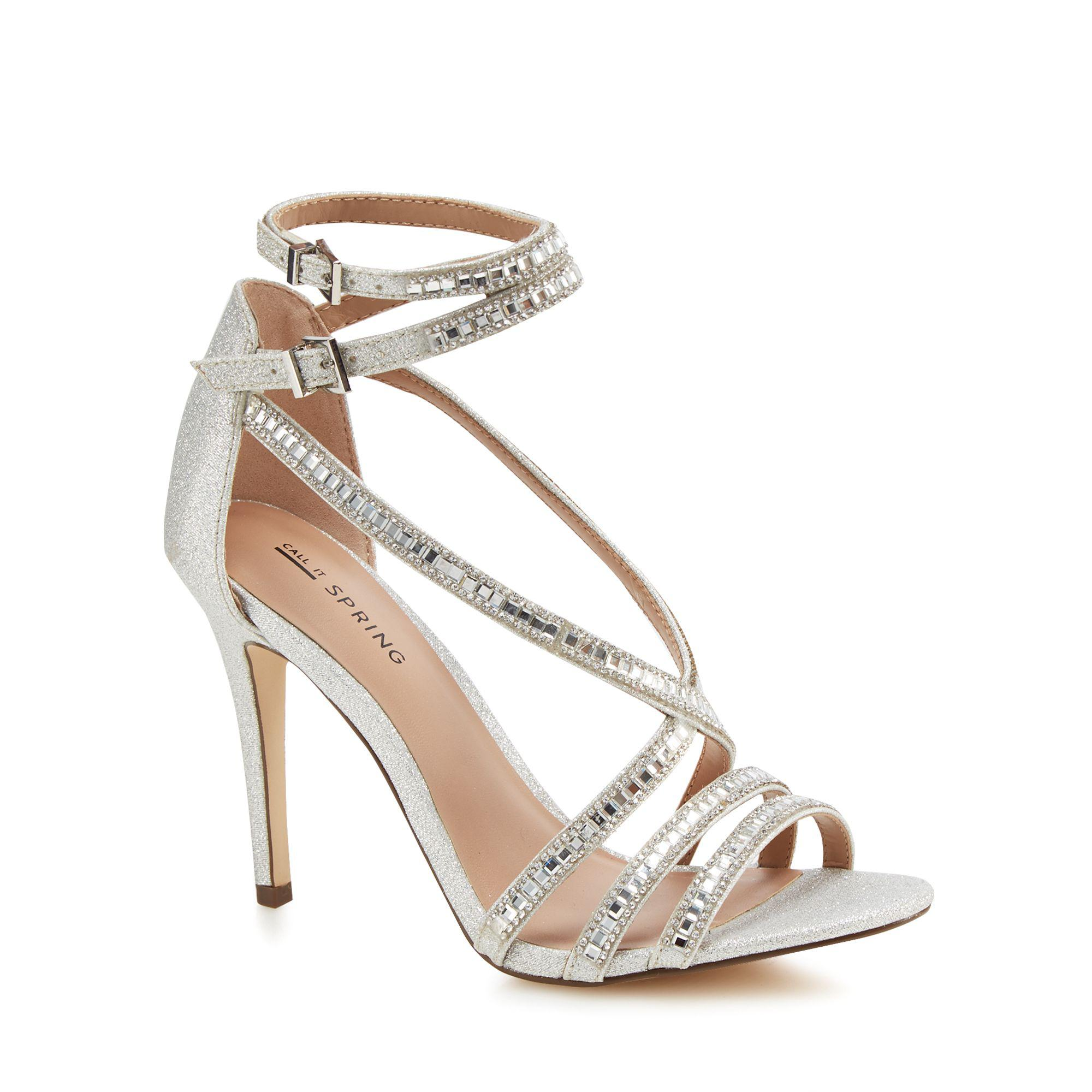 c7e29e01e451 Call It Spring. Women s Metallic Silver Glitter  gaffigan  High Stiletto  Heel Ankle Strap Sandals