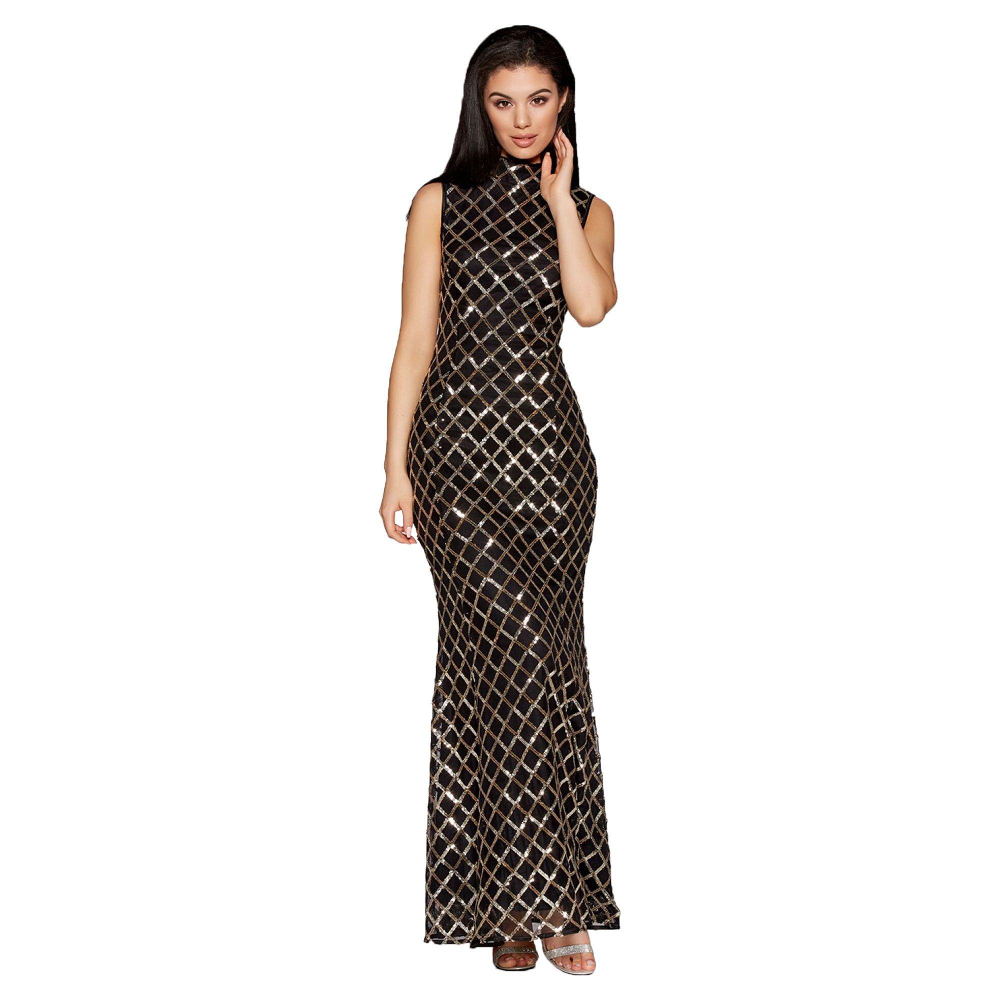 dcb58279 Quiz Black And Gold Sequin High Neck Fishtail Maxi Dress - Photo ...