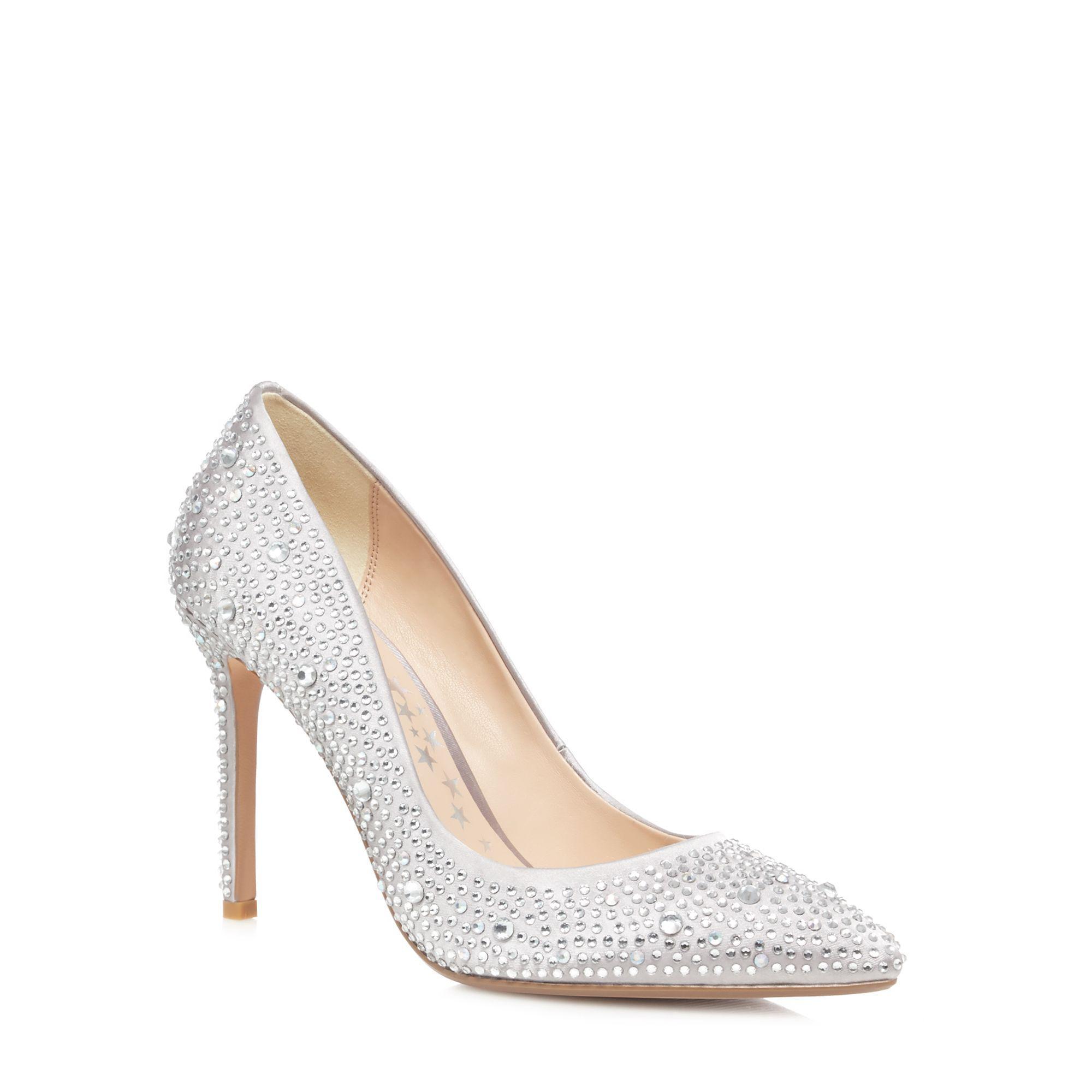 Silver satin diamante stiletto heel court shoes footlocker pictures sale online sale new styles wide range of online TylCI6CDk