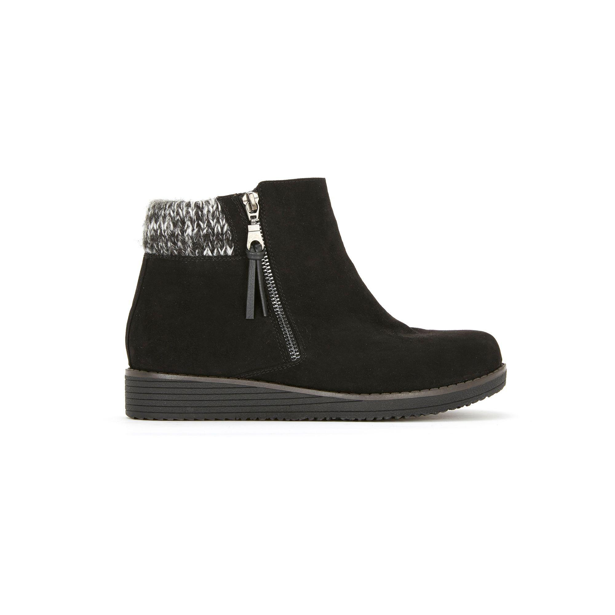 35d8528d542 Evans - Wide Fit Black Knit Cuff Wedge Ankle Boots - Lyst. View fullscreen