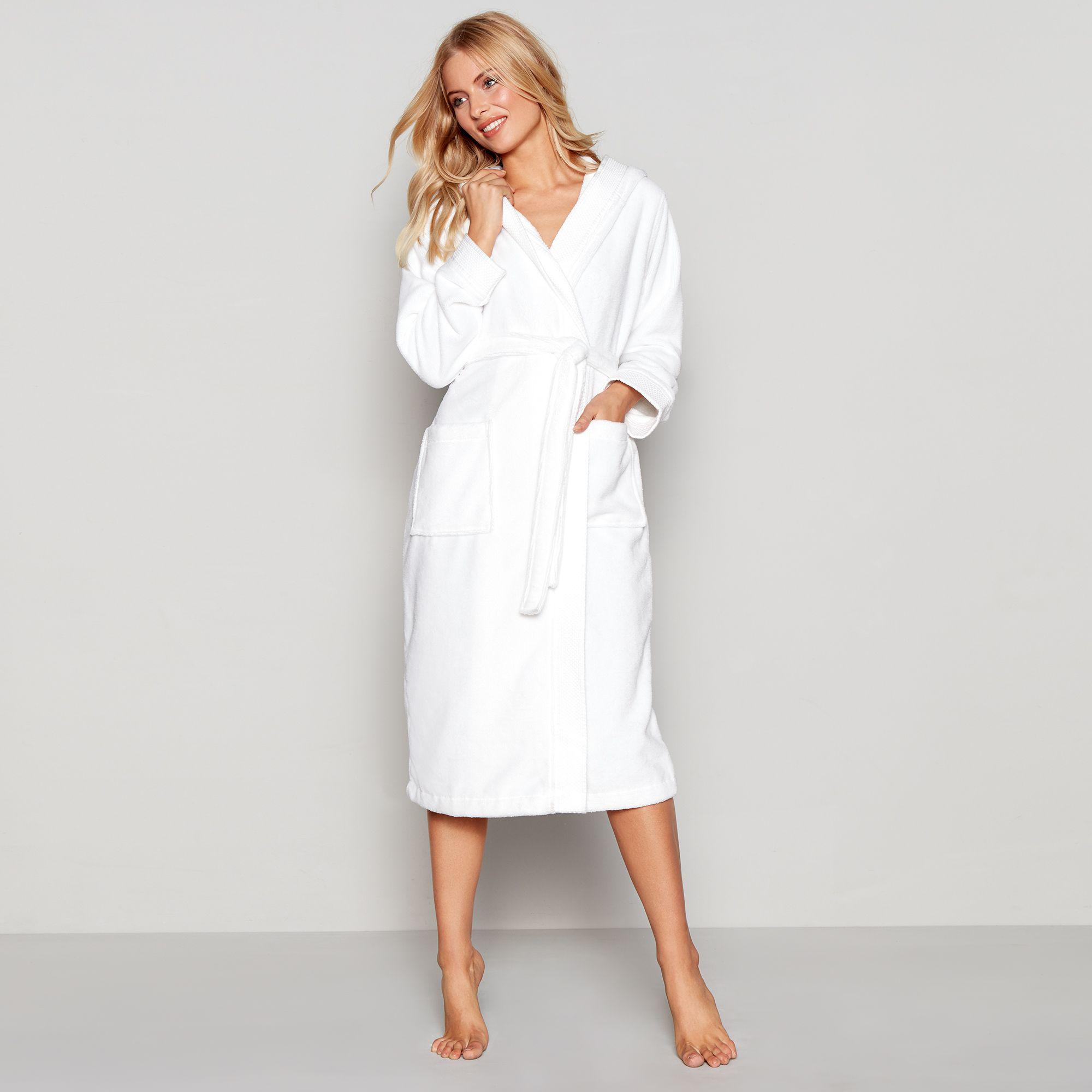 Lyst - J By Jasper Conran White Towelling Hooded Dressing Gown in White