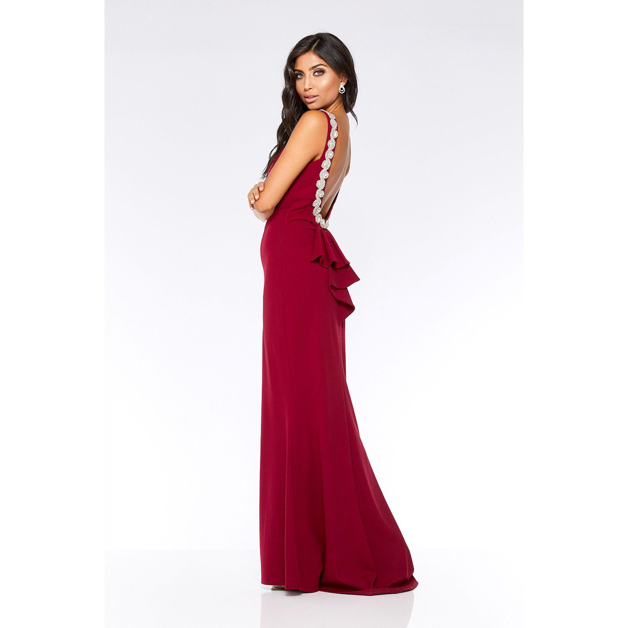 5d26b5f2790b9 Quiz Berry Ruffle Embellished Back Fishtail Maxi Dress in Red - Lyst