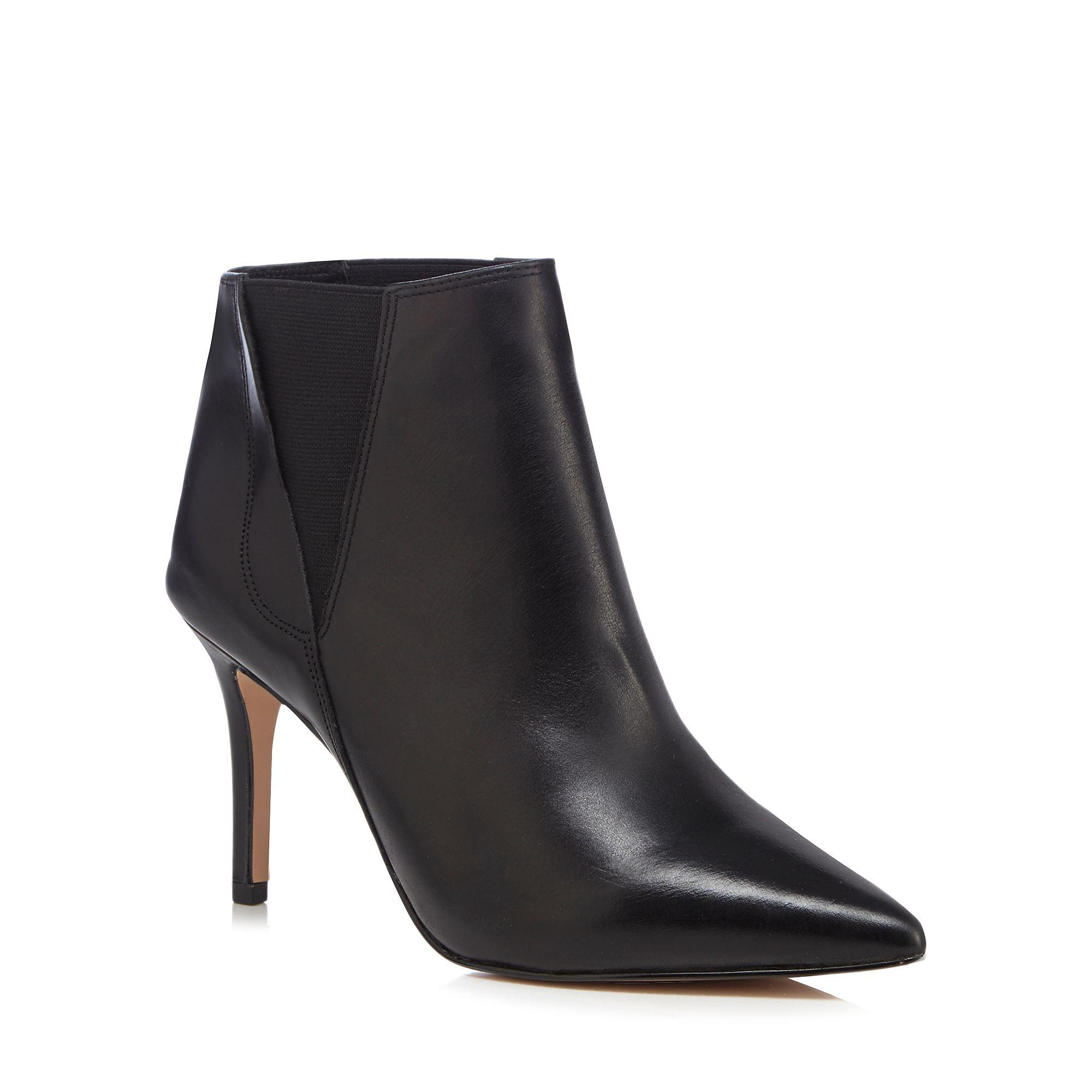 649284aff5c J By Jasper Conran Black Leather Pointed High Ankle Boots in Black ...