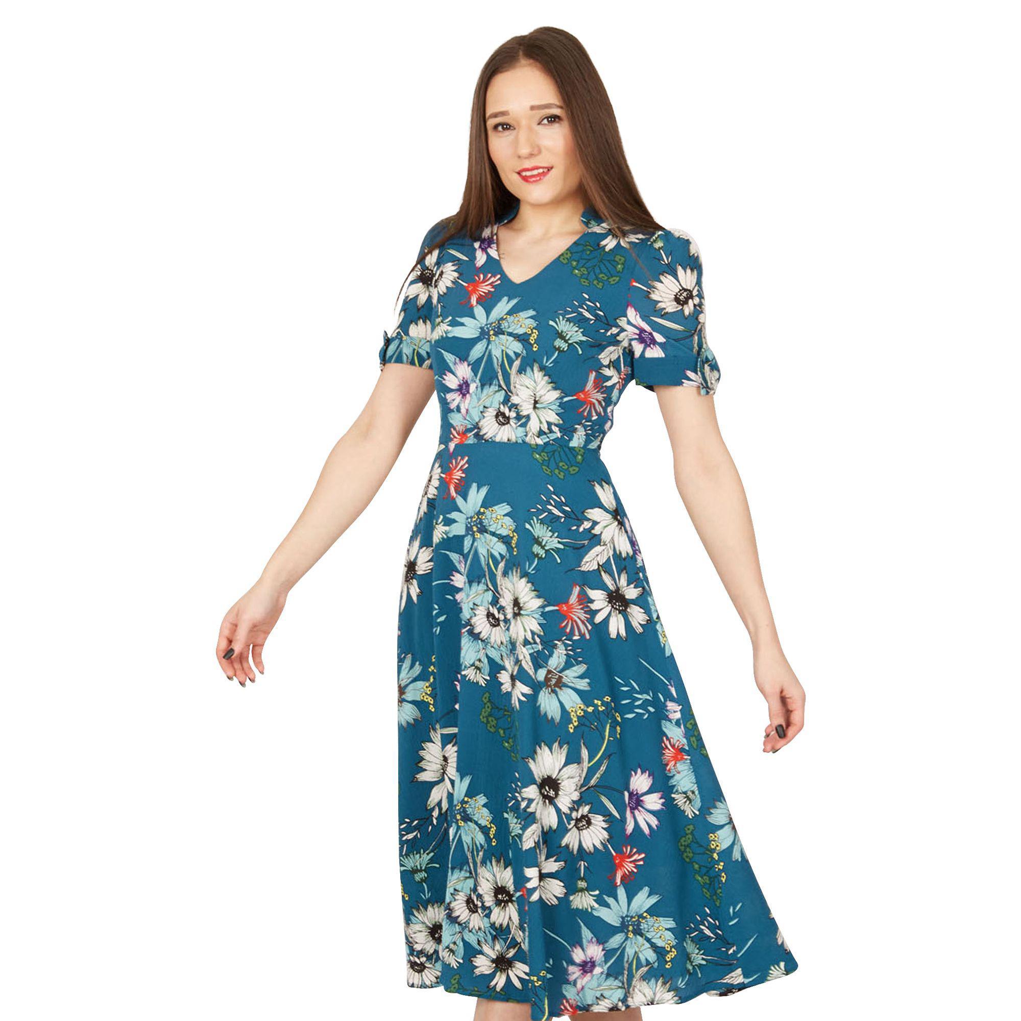 c7ca535f7471 Jolie Moi Multicoloured Floral Print Bow Detail Tea Dress in Blue - Lyst