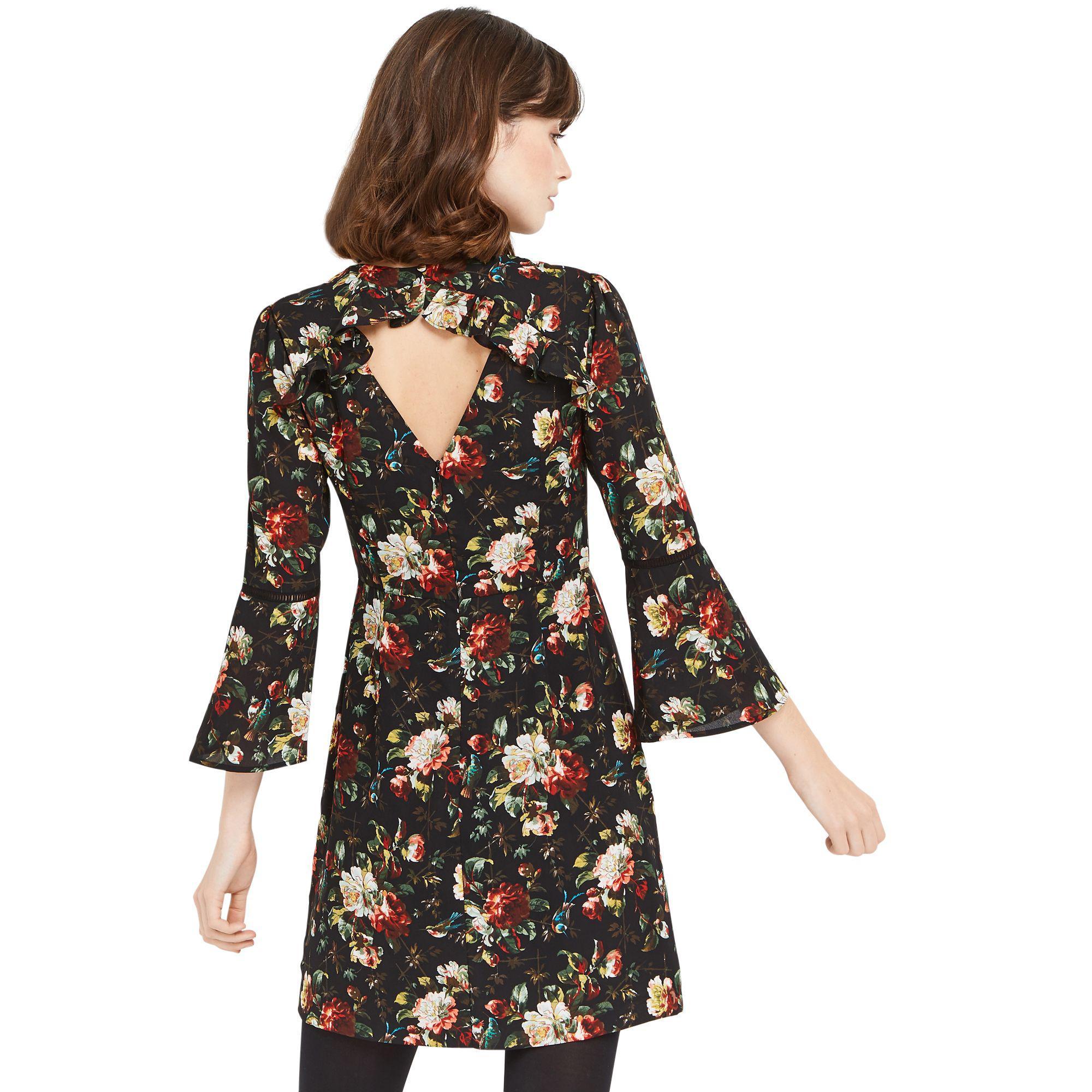 c461974e5807 Oasis Multi Coloured Floral Flute Sleeves Rose Shift Dress in Black ...