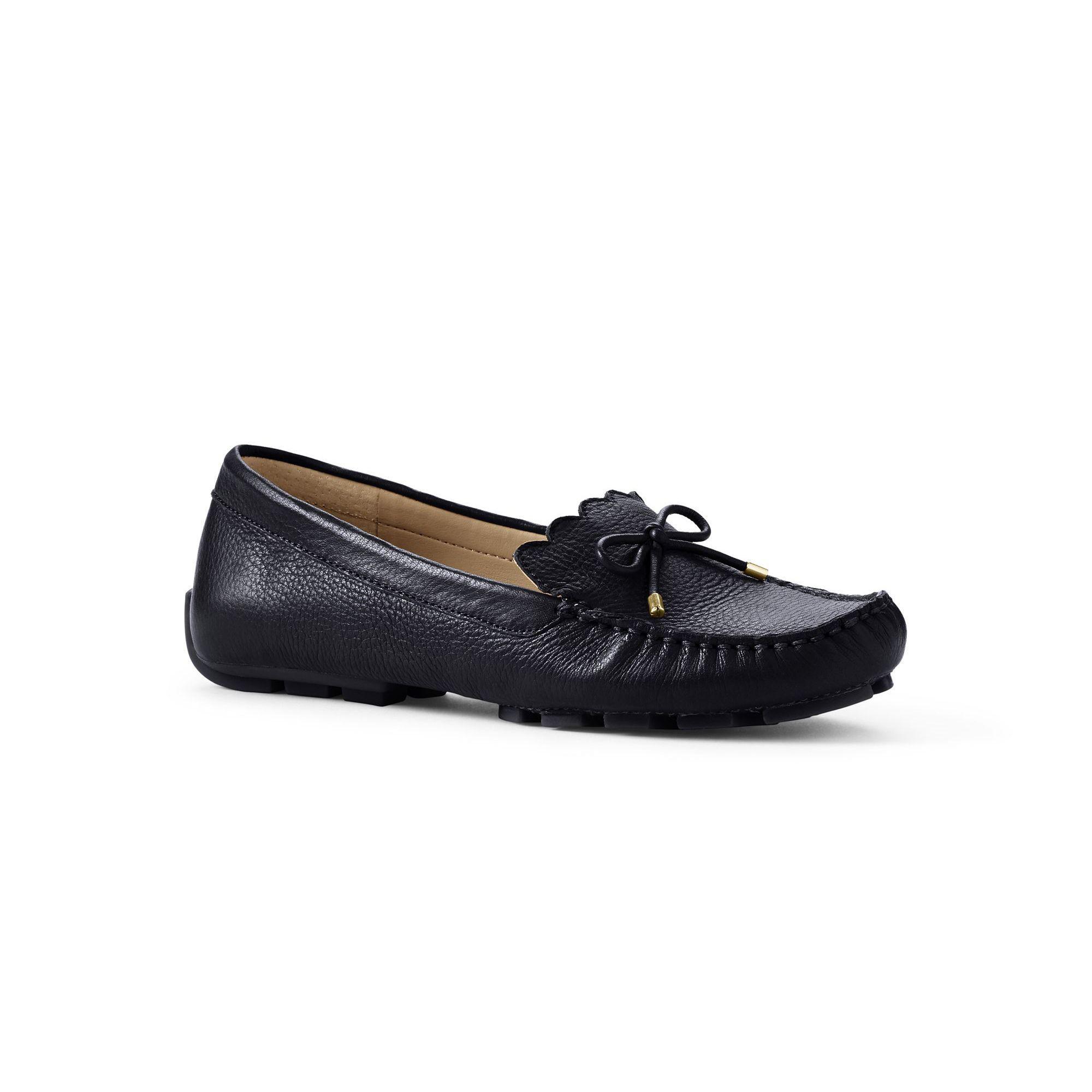 546576fde59f Lands' End Black Regular Scalloped Driving Shoes in Black - Lyst