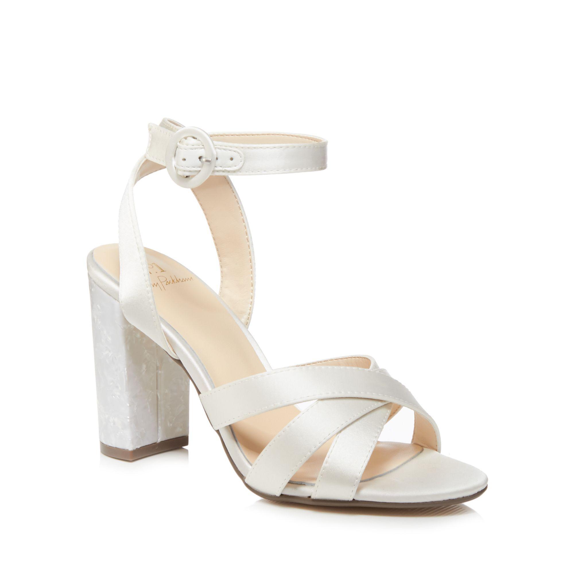 fc90d62076e Jenny Packham. Women s White Ivory Satin  pearl  High Block Heel Ankle  Strap Sandals