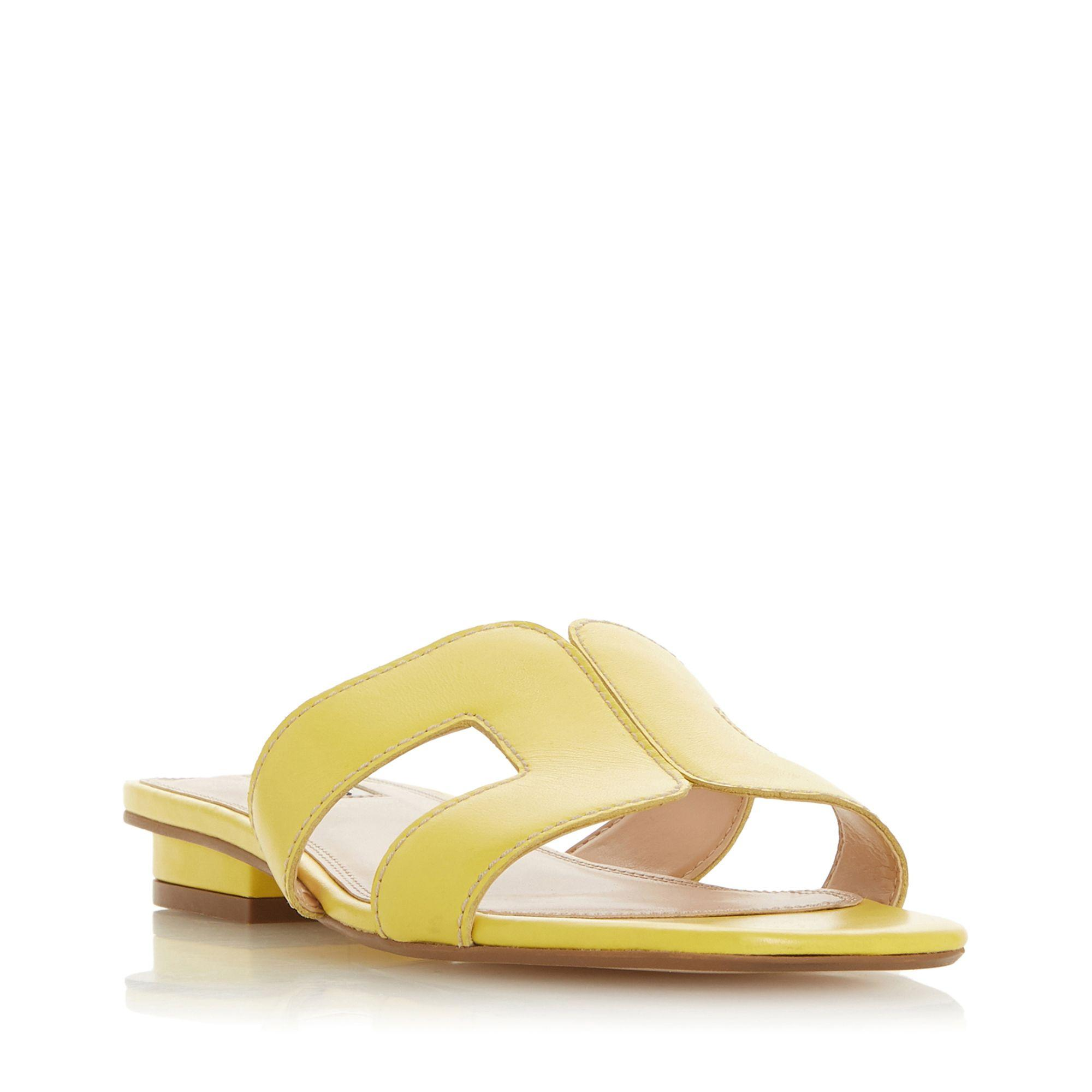 b49d2815b Dune Yellow Leather  loupe  Block Heel Mule Sandals in Yellow - Save ...