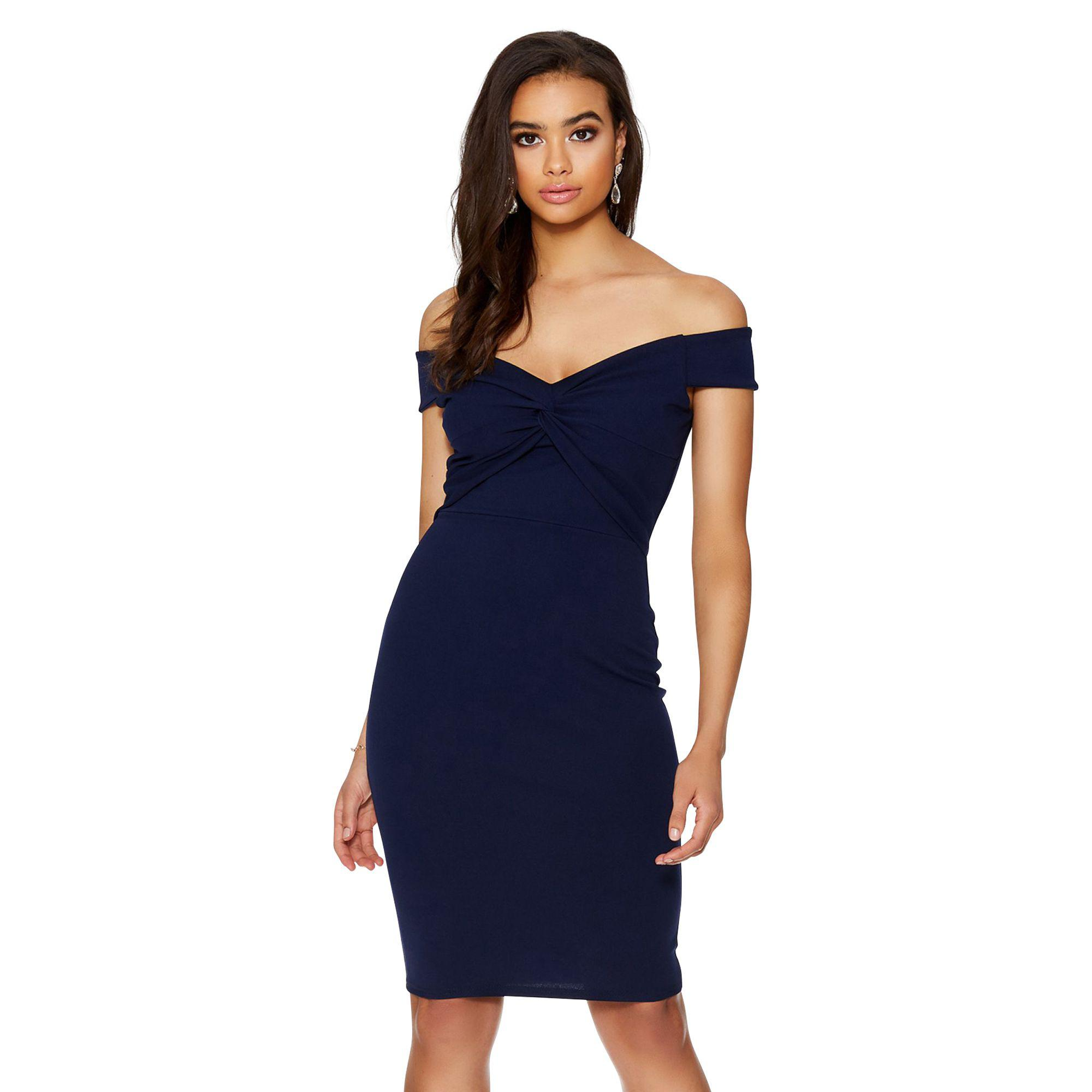 77efa34df3 Quiz Navy Crepe Bardot Knot Front Midi Dress in Blue - Lyst