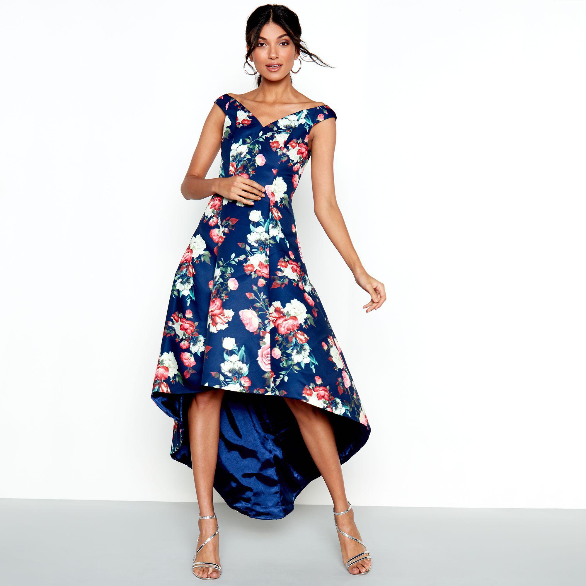 cccfc562e8 Lipsy Navy Floral Print Satin 'zinnia' Bardot High Low Dress in Blue ...