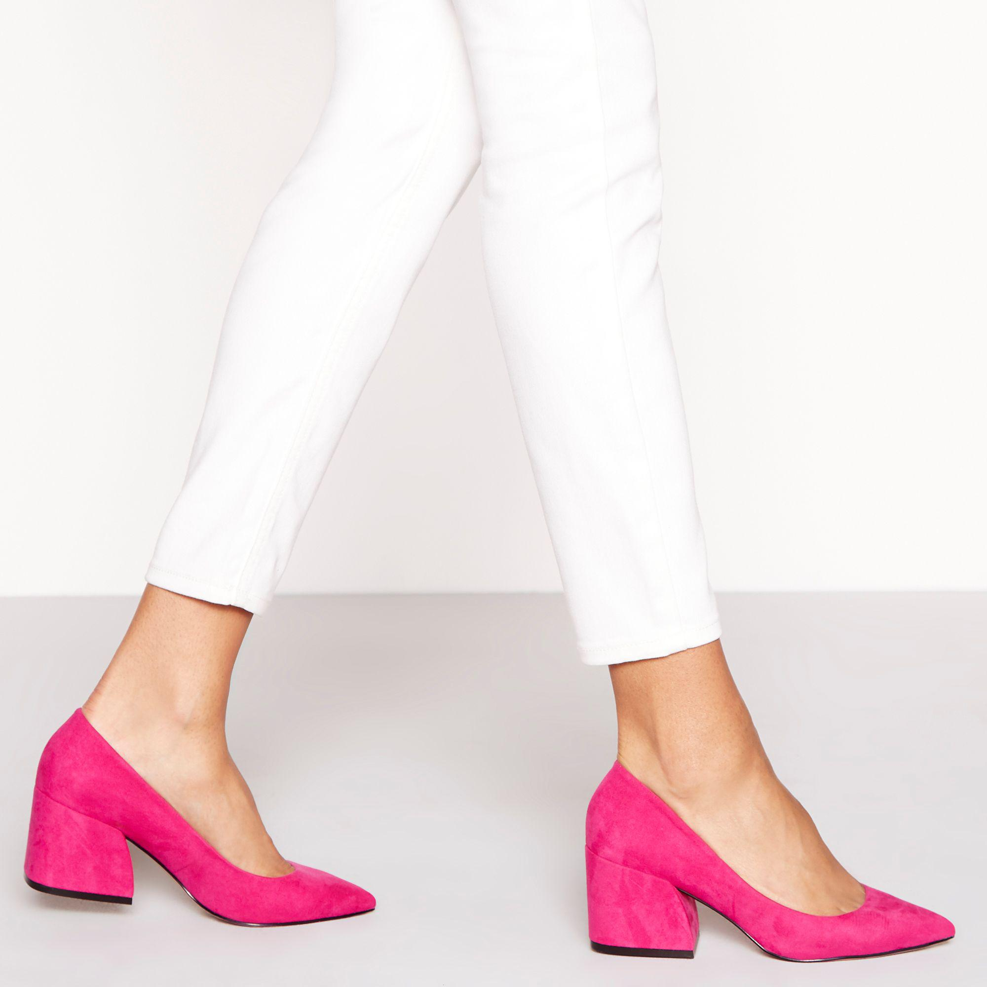 ff17b616905 Faith Pink Suedette  chase  Mid Block Heel Court Shoes in Pink - Lyst