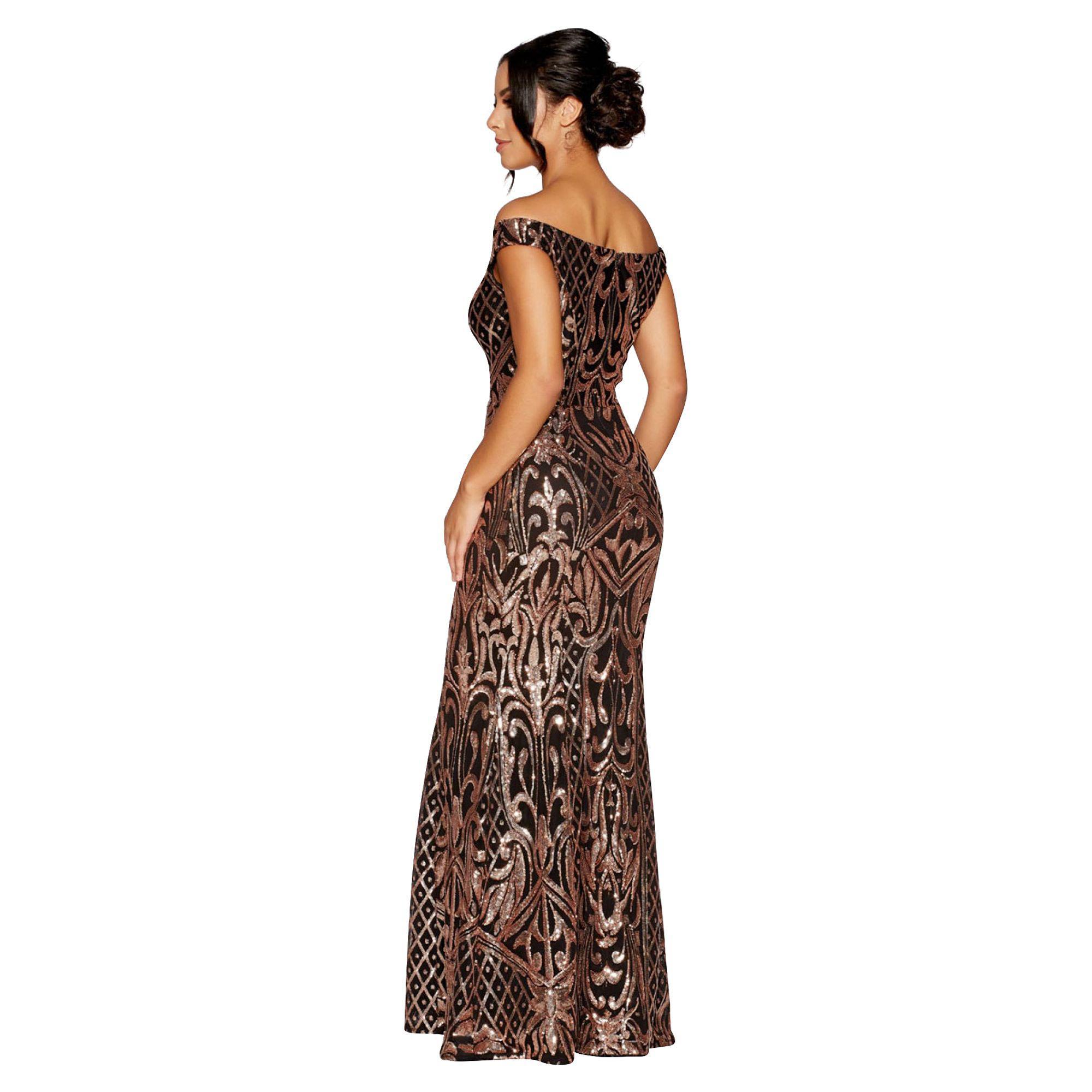 427e432b ... Quiz - Black And Rose Gold Sequin Bardot Maxi Dress - Lyst. Visit  Debenhams. Tap to visit site