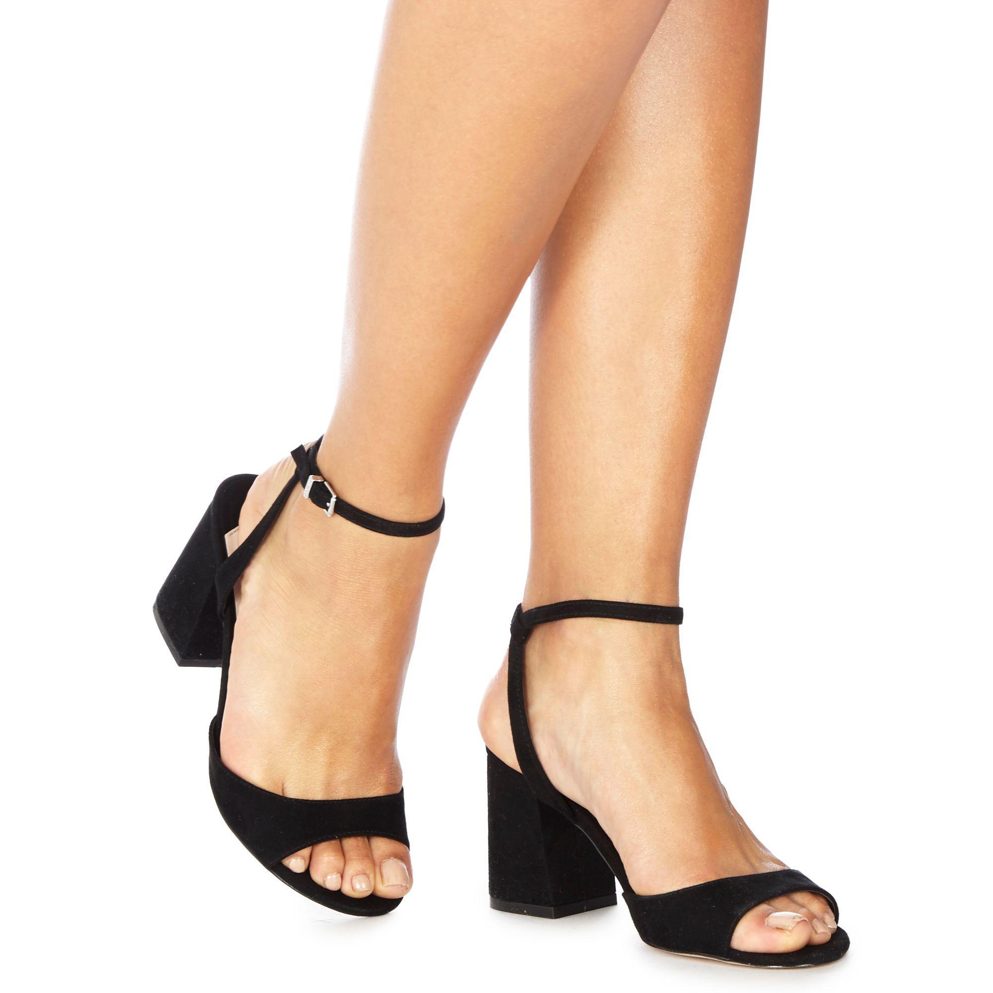 ec8c5e687280 Faith. Women s Black Suedette  danicar  Mid Block Heel Ankle Strap Sandals