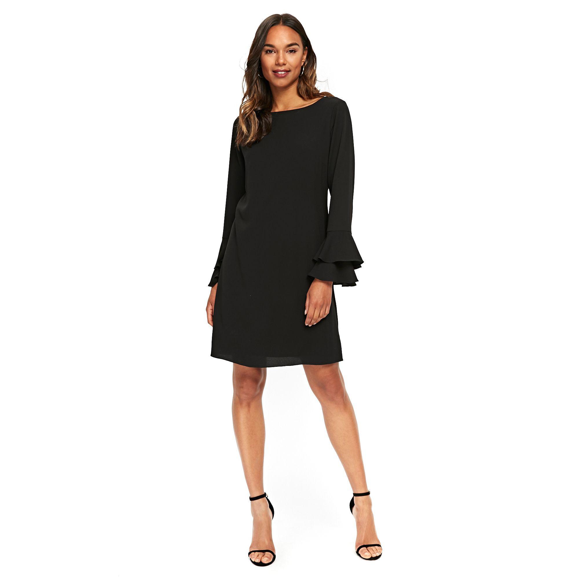 1d811c577e11 Wallis Black Double Flute Sleeve Shift Dress in Black - Lyst
