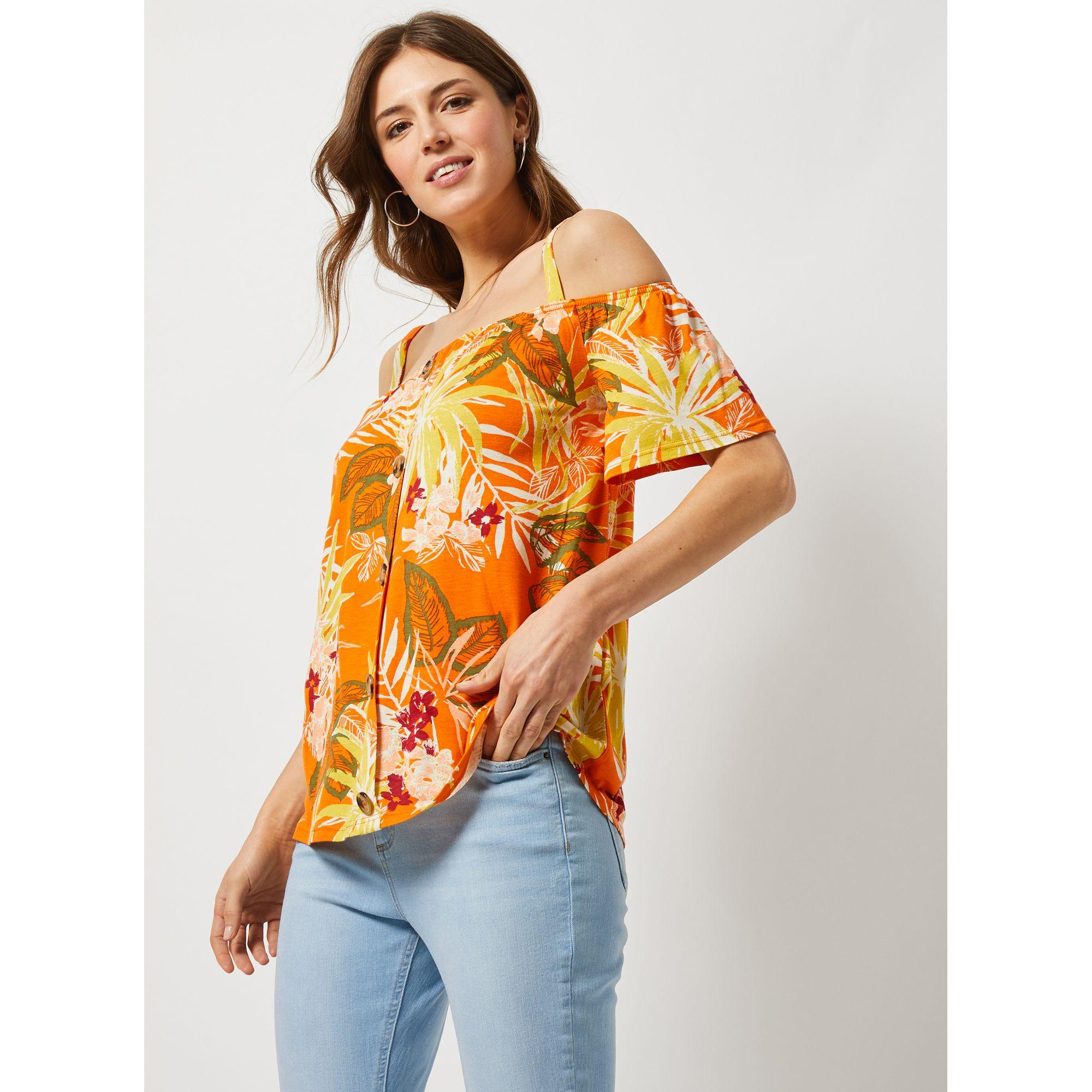 ec5e1d68086 Dorothy Perkins Tropical Soft Cold Shoulder Top in Orange - Lyst