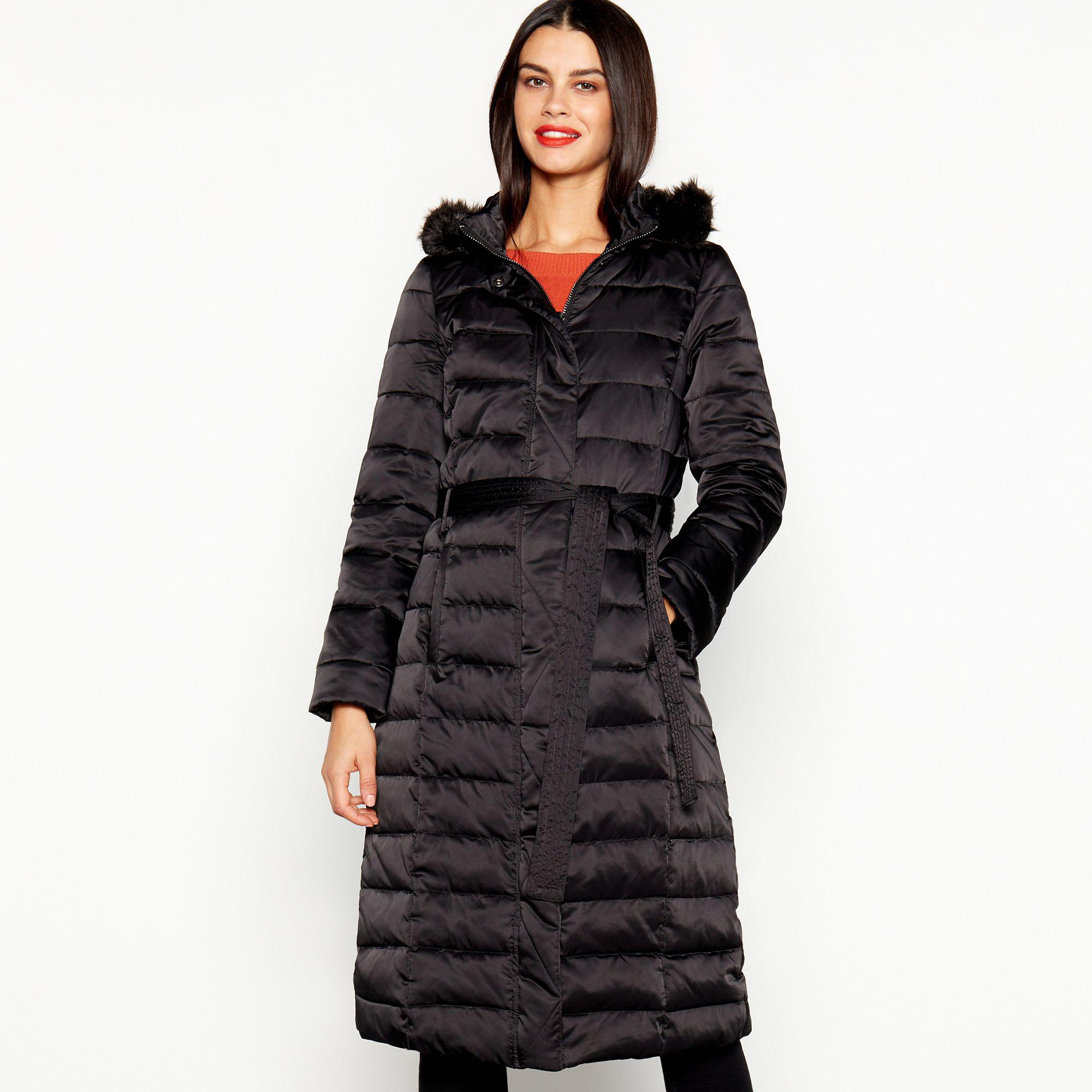29adc3fc029 J By Jasper Conran Black Quilted Feather And Down Hooded Coat in ...