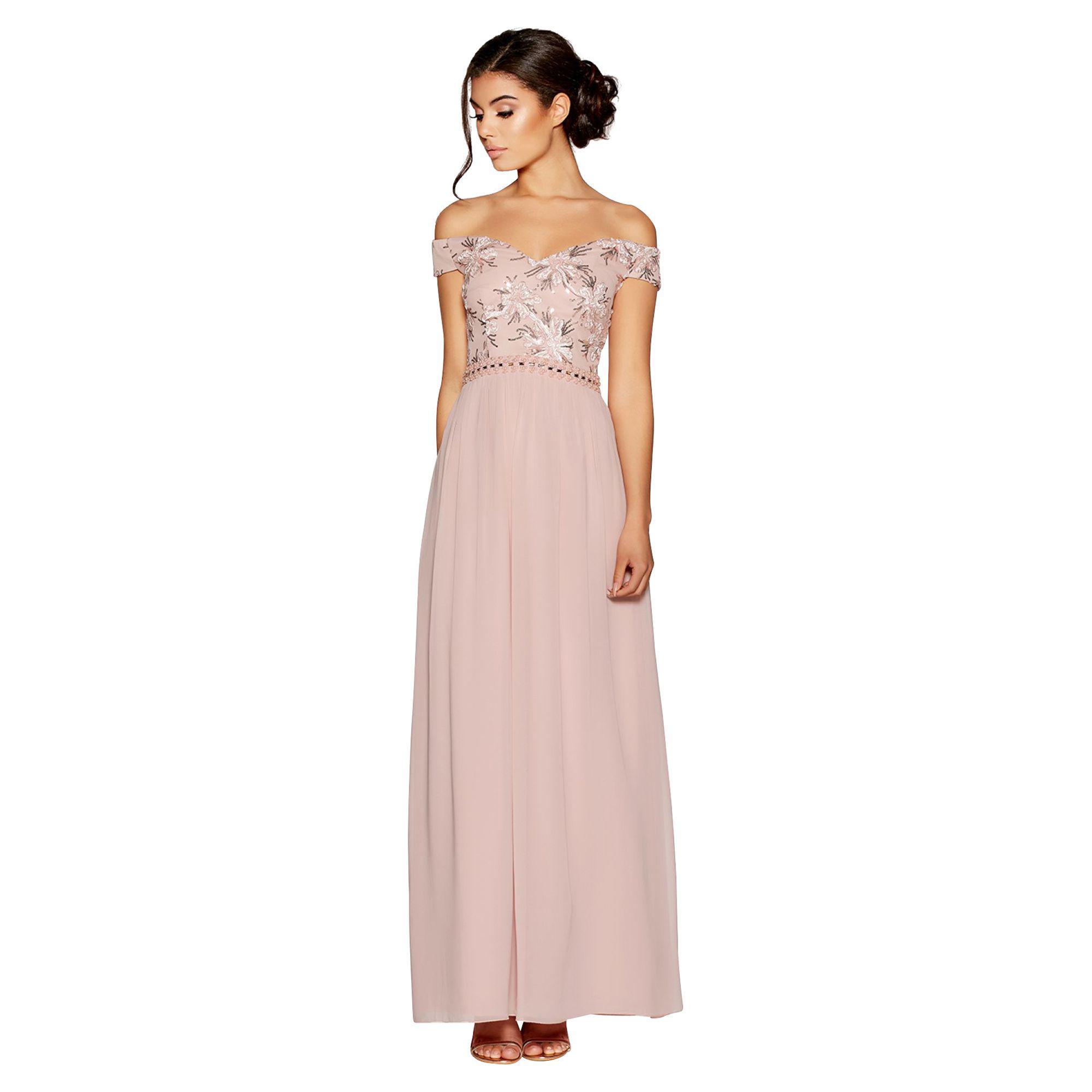 75ea87962bc18d Quiz - Dusty Pink Bardot Embroidered Maxi Dress - Lyst. View fullscreen