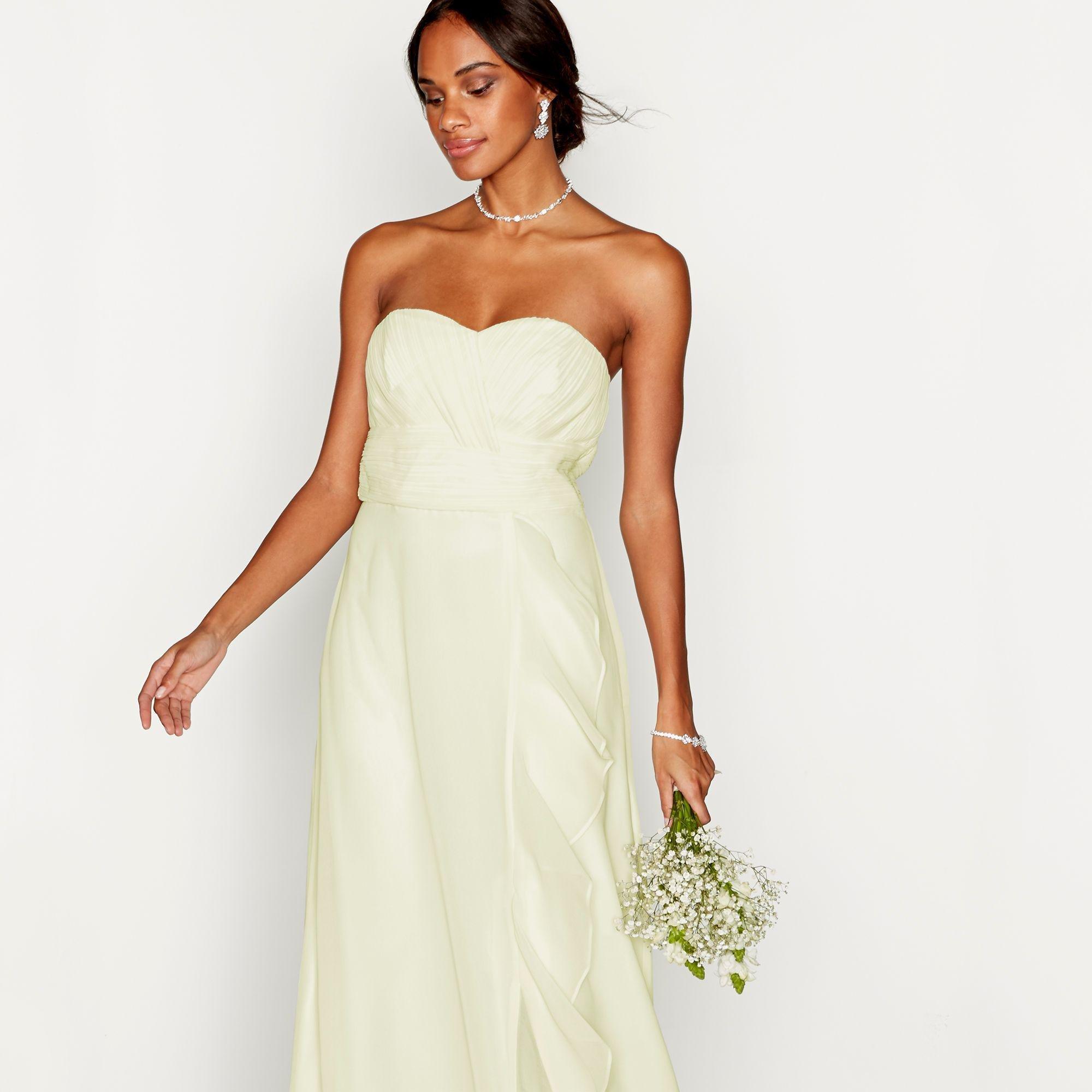 733b0e1538 Début Pale Yellow Chiffon 'sara' Strapless Plus Size Bridesmaid ...