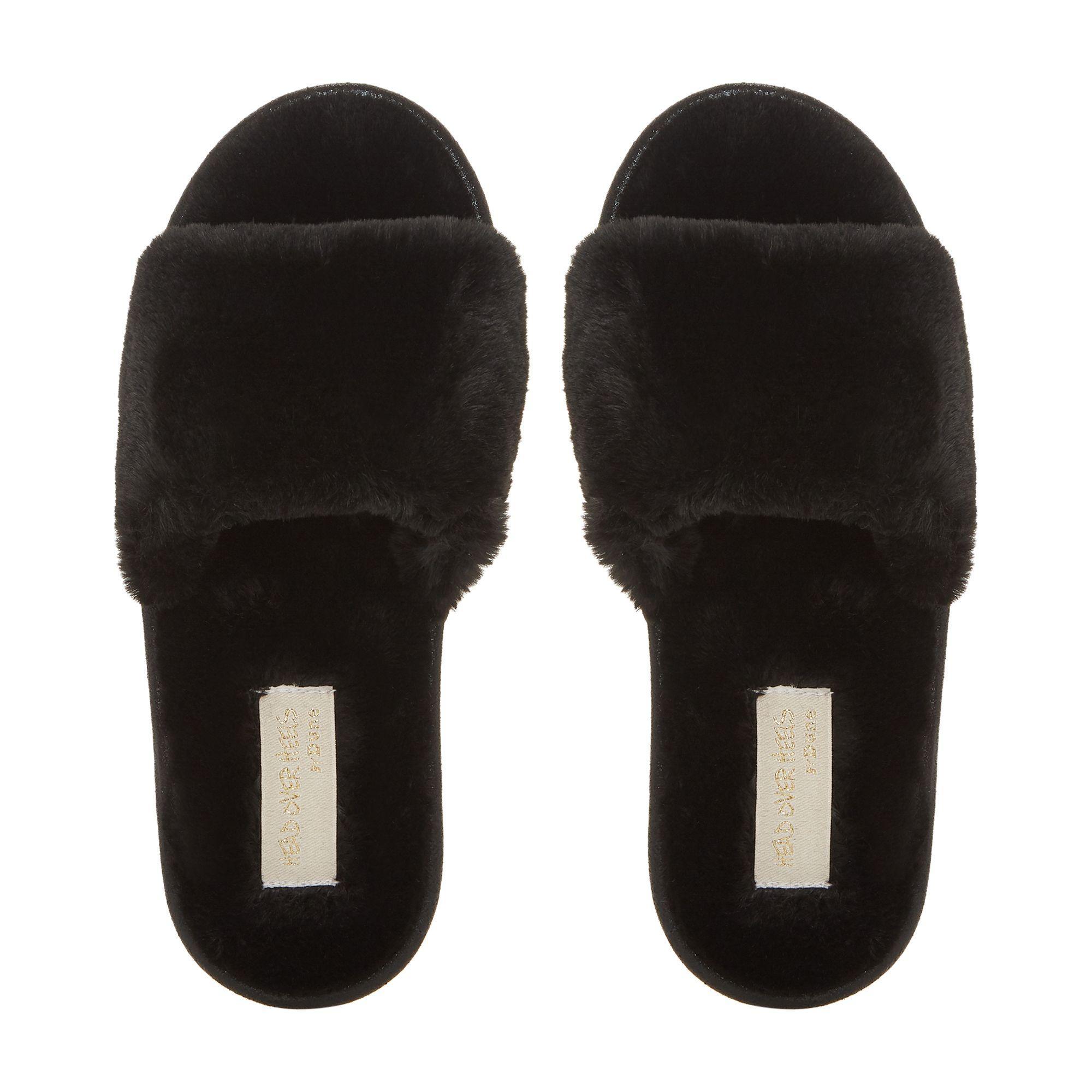 b25f3e35b49 Dune Black Fluffy Mule Slippers in Black - Lyst