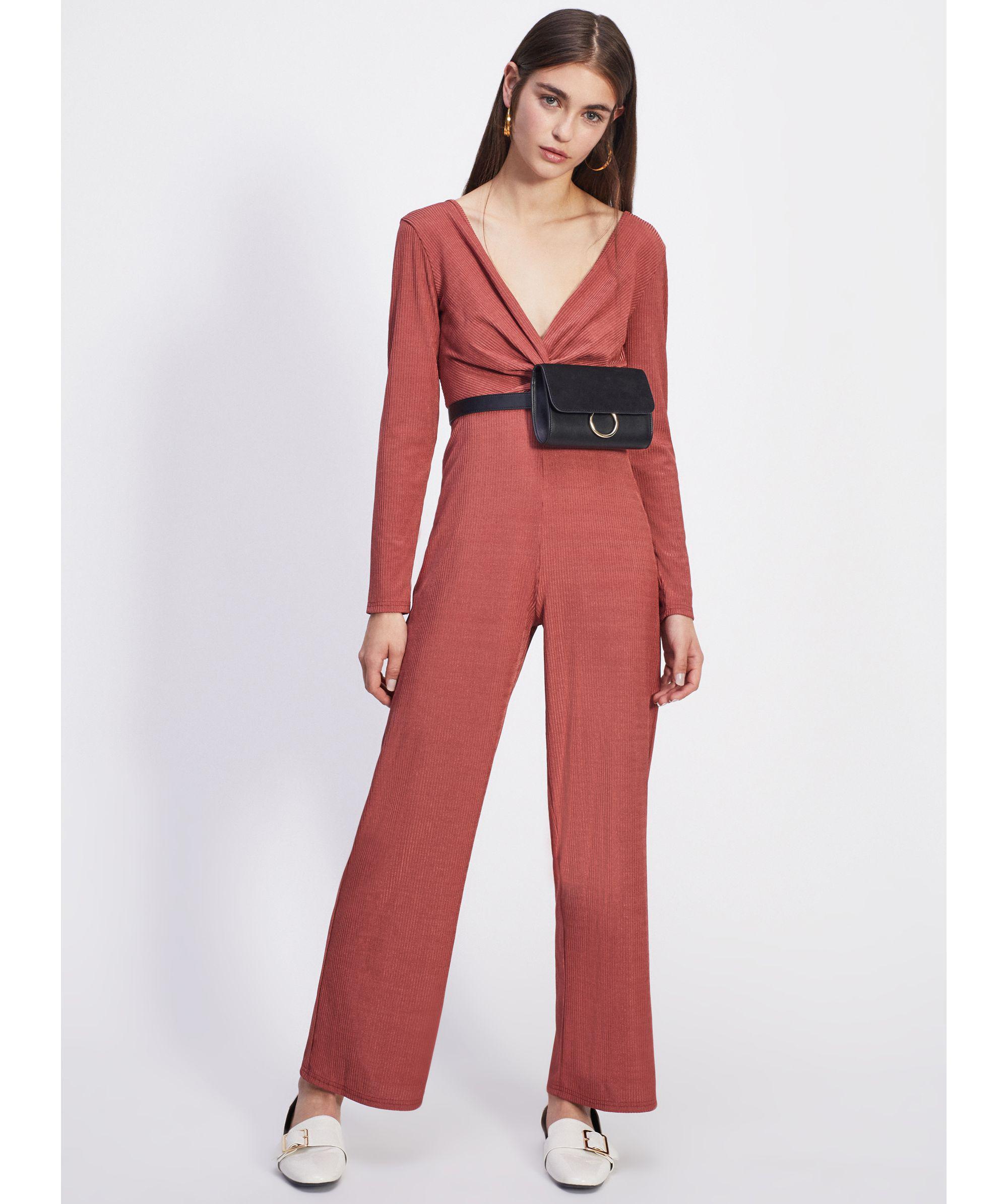 56647130bc3 Miss Selfridge Petite Rust Twist Front Jumpsuit in Orange - Lyst