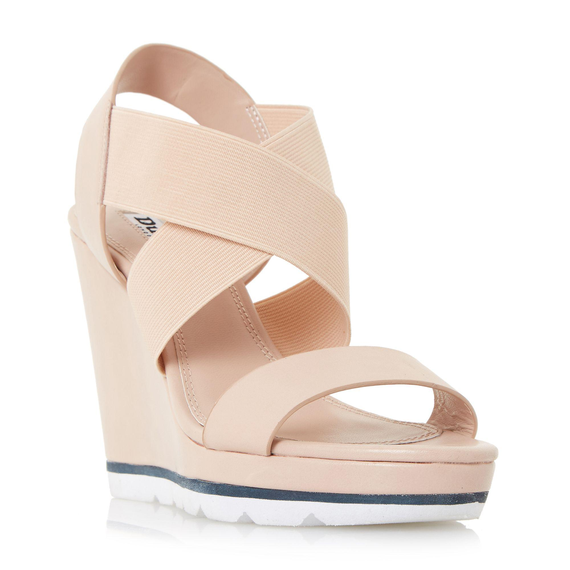 8556aec25660 Dune. Women s Natural  kalifornia  White Outsole Cross Strap Wedge Sandals