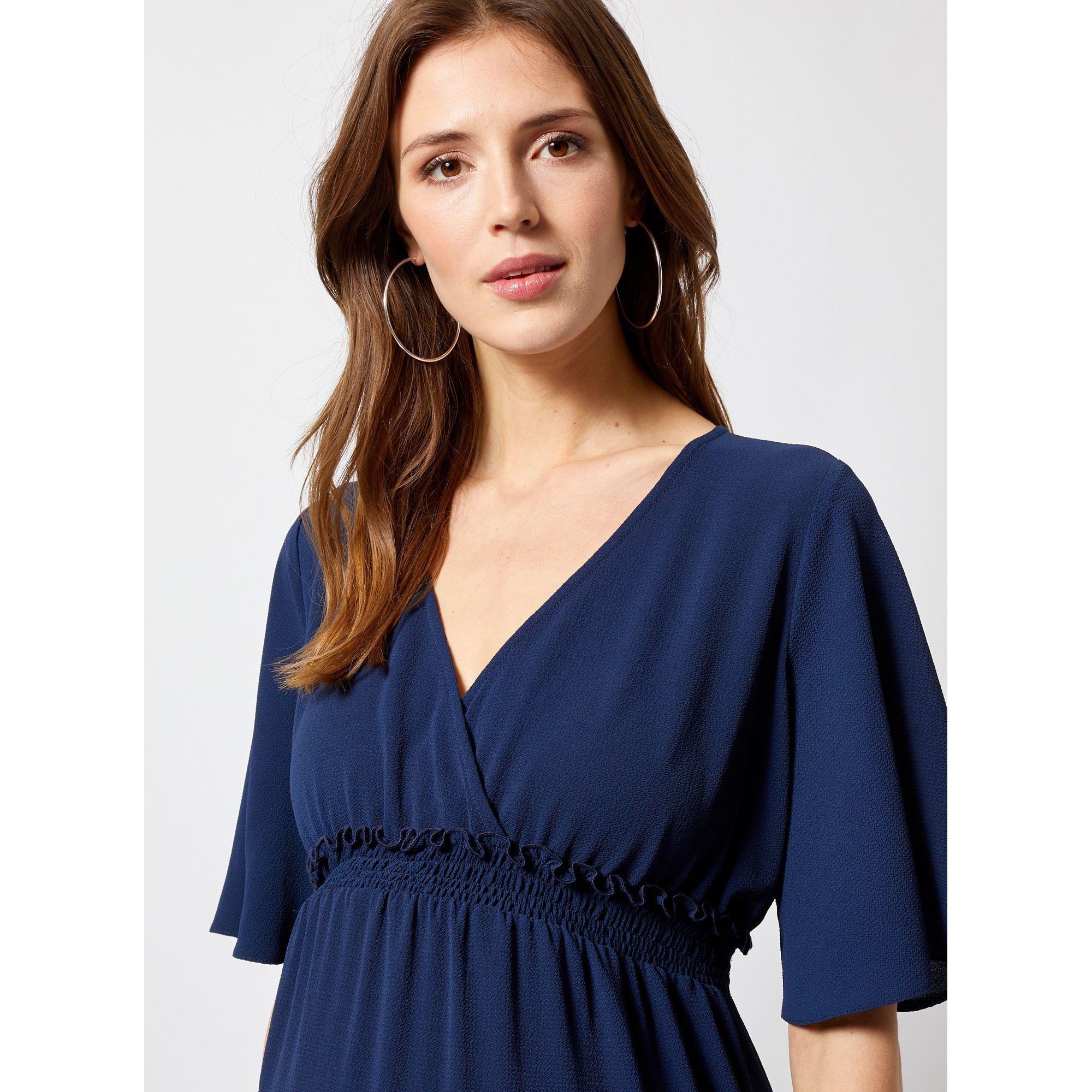 8d0f7865f1 Dorothy Perkins - Blue Maternity Navy Shirred Waist Dress - Lyst. View  fullscreen