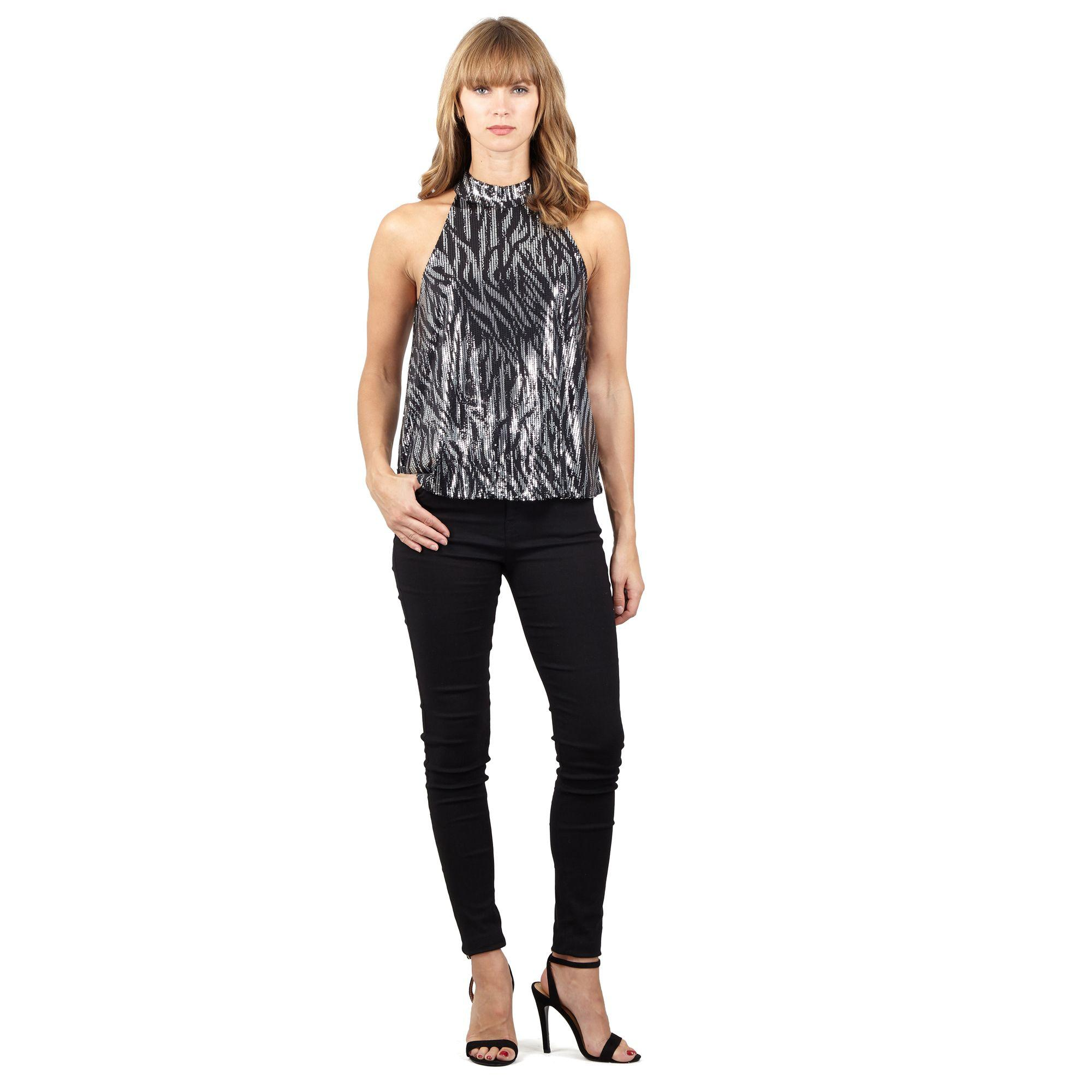 27e496aff36a5 Izabel London - Black Printed High Neck Top - Lyst. View fullscreen