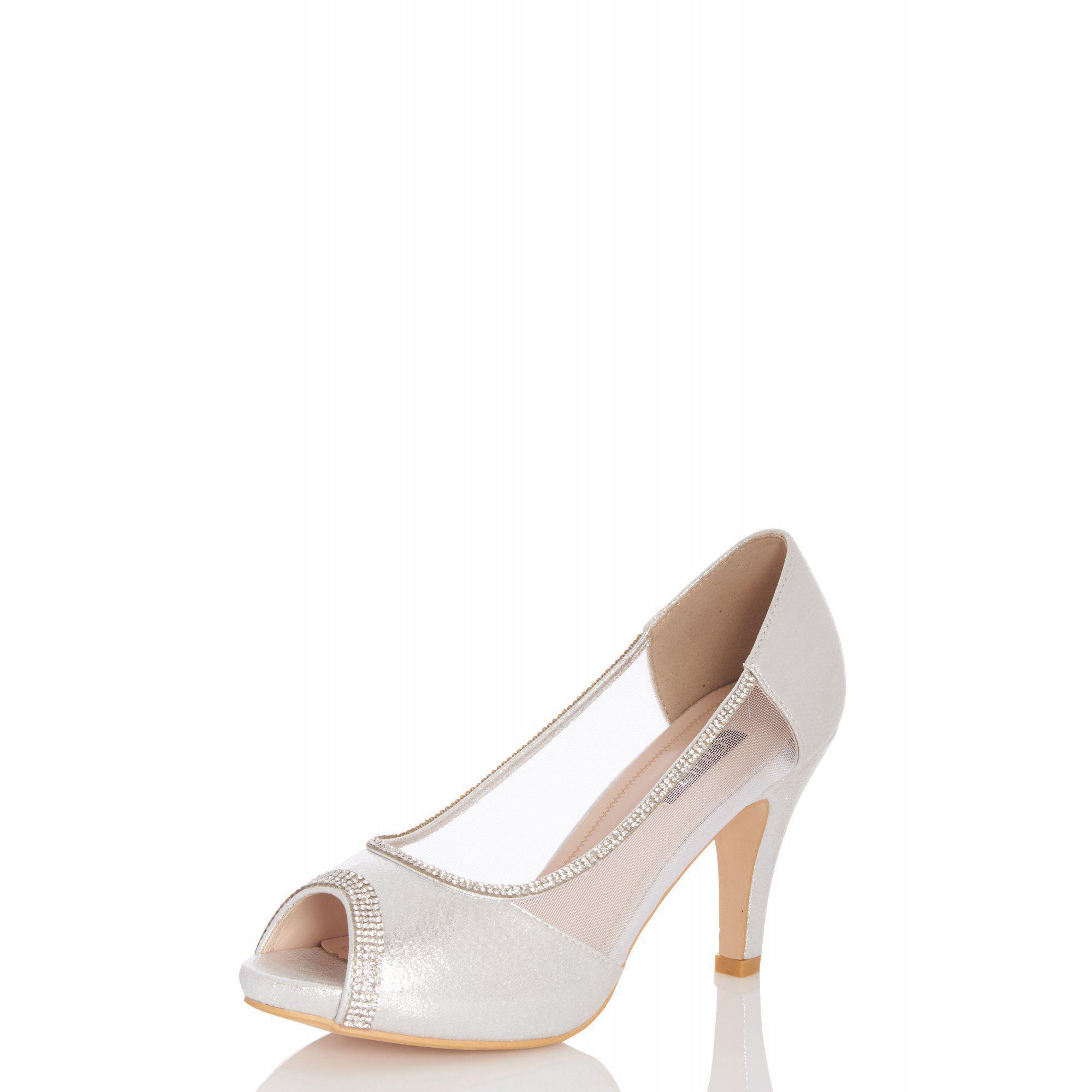 47d1c3c552a Quiz - Metallic Silver Shimmer Peep Toe Low Heel Shoes - Lyst. View  fullscreen