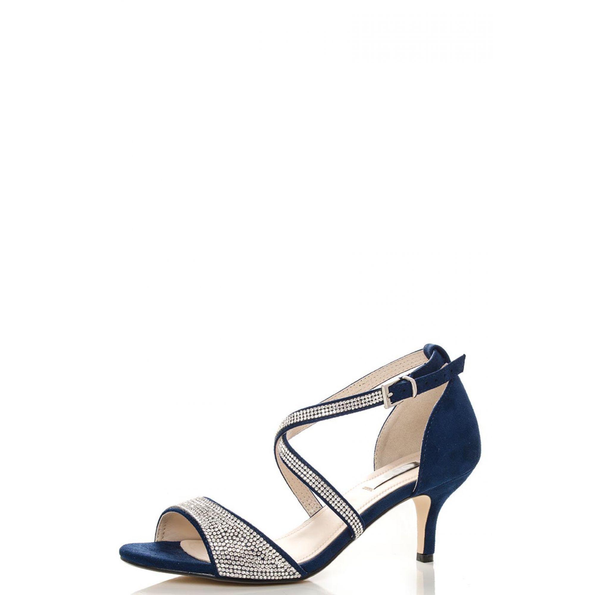 1d5aa869e Quiz Navy Diamante Low Heel Sandals in Blue - Lyst