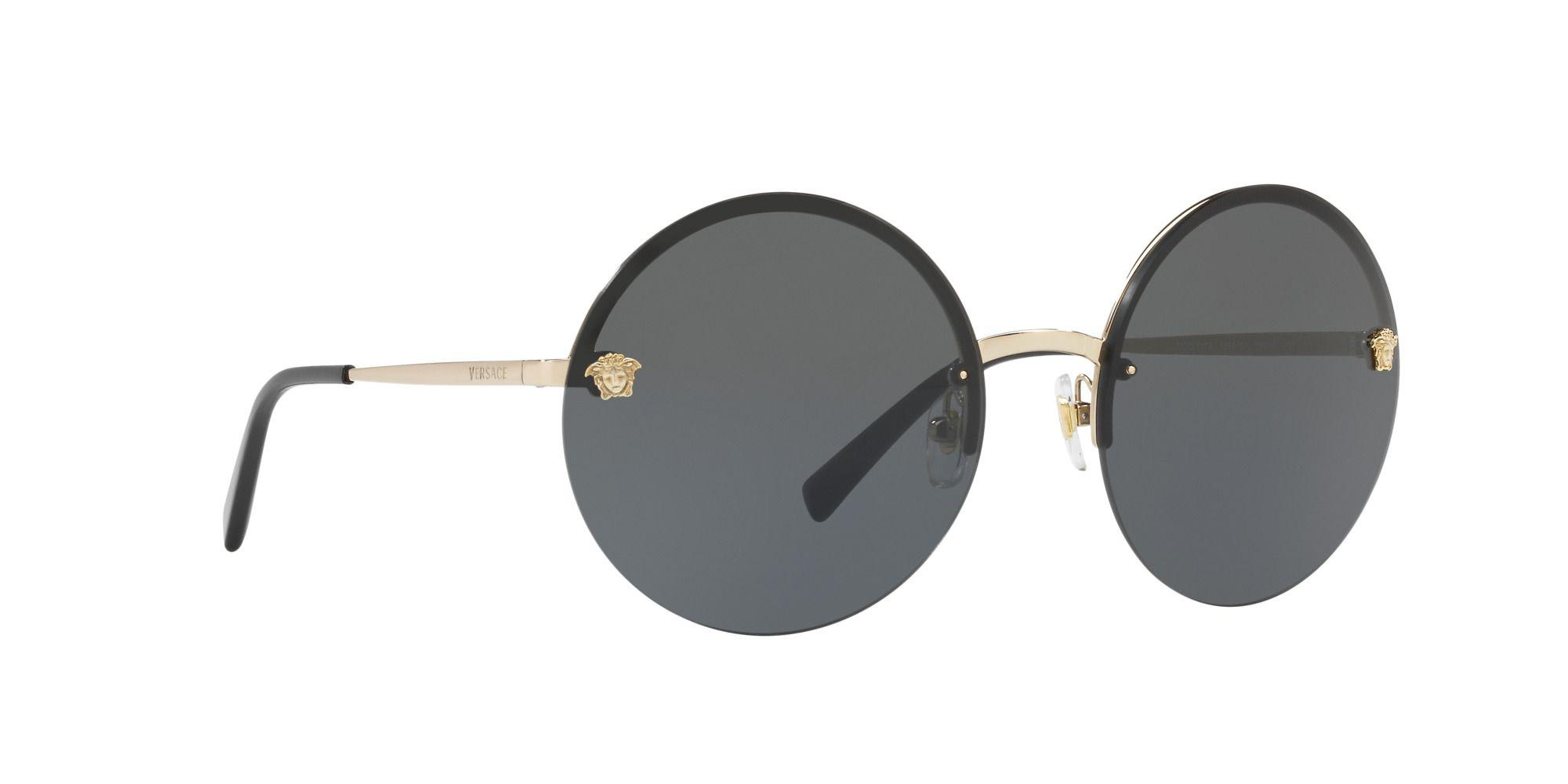 5deab20faf Versace Pale Gold Ve2176 Round Sunglasses in Gray - Lyst