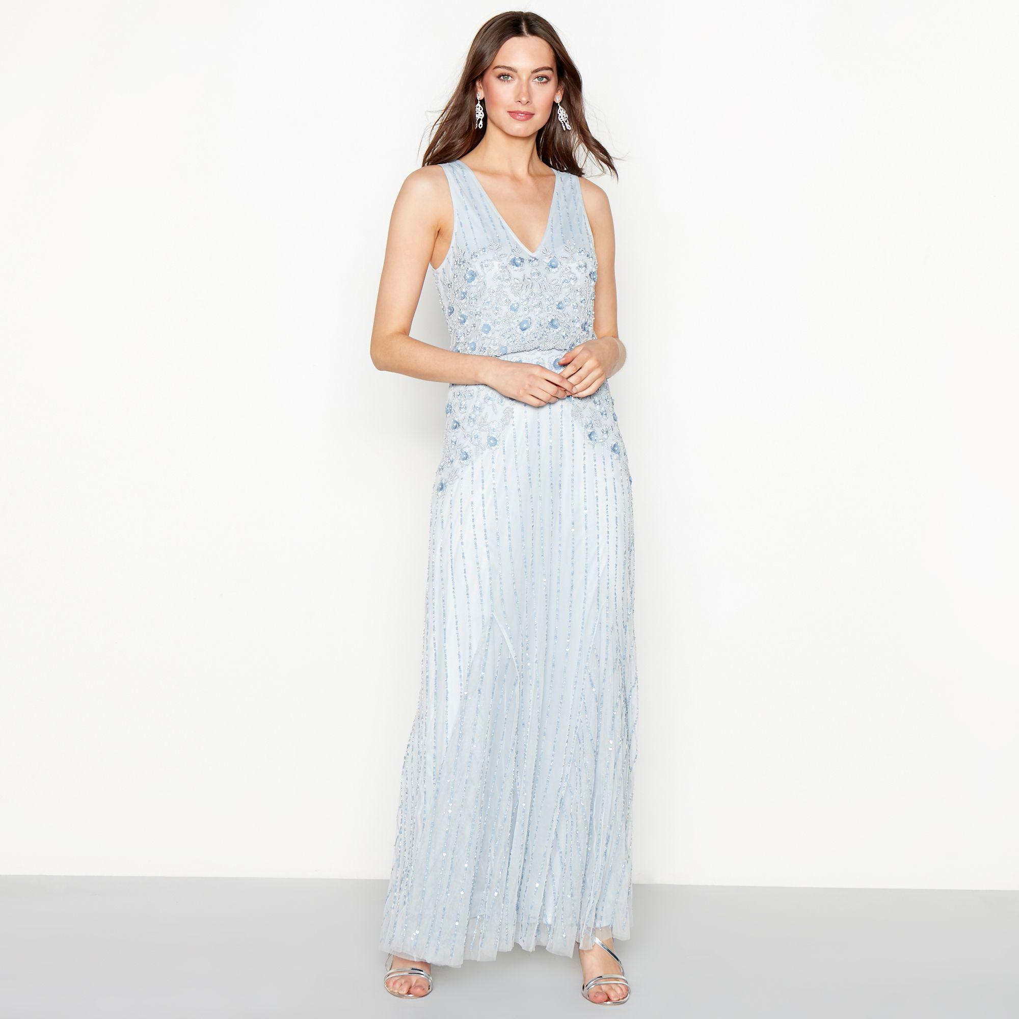 fe2be0752 Jenny Packham Light Blue Floral Embellished Chiffon 'francesca' V ...