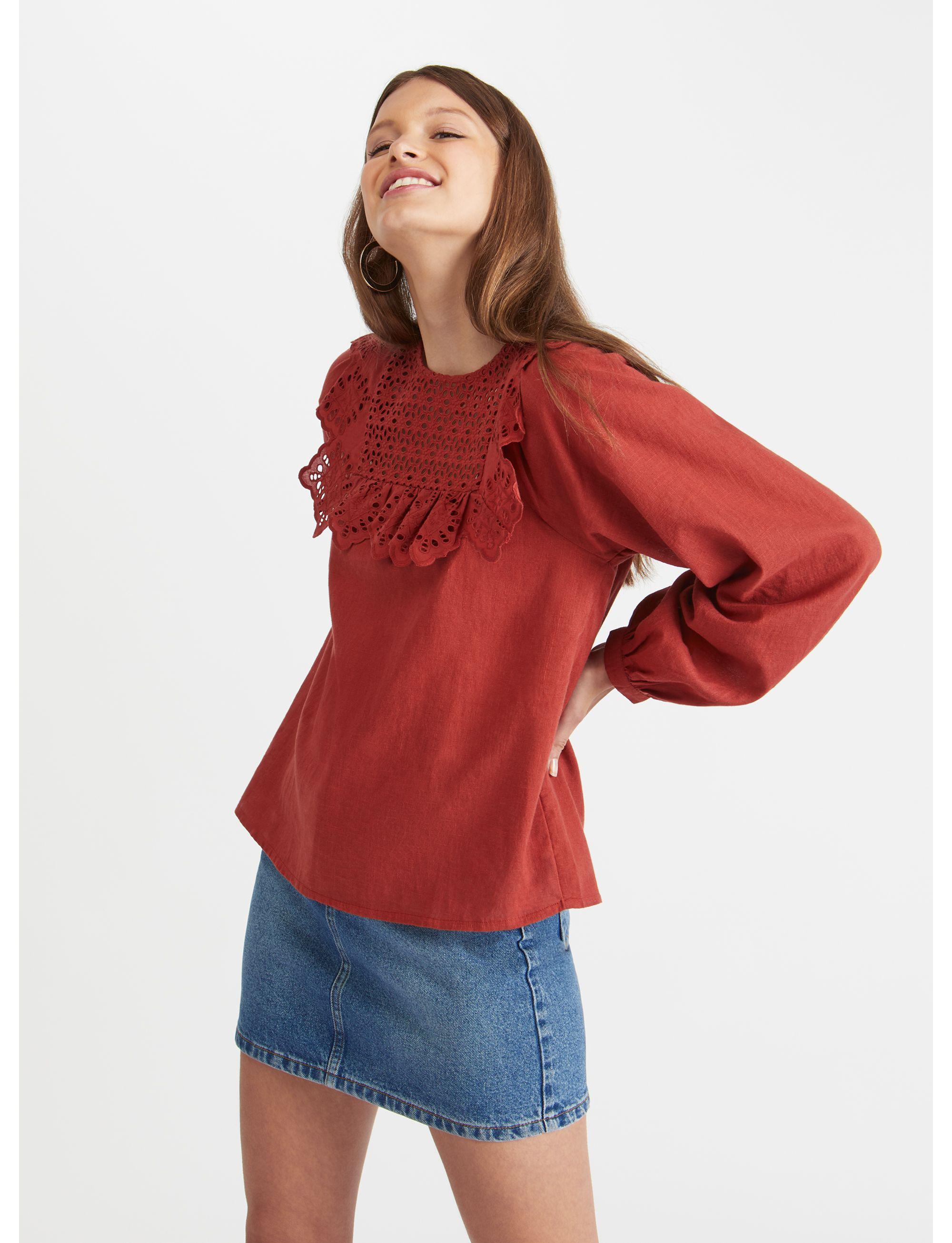 0bb28035c3a93 Miss Selfridge Chiffon Frill Blouse in Red - Lyst