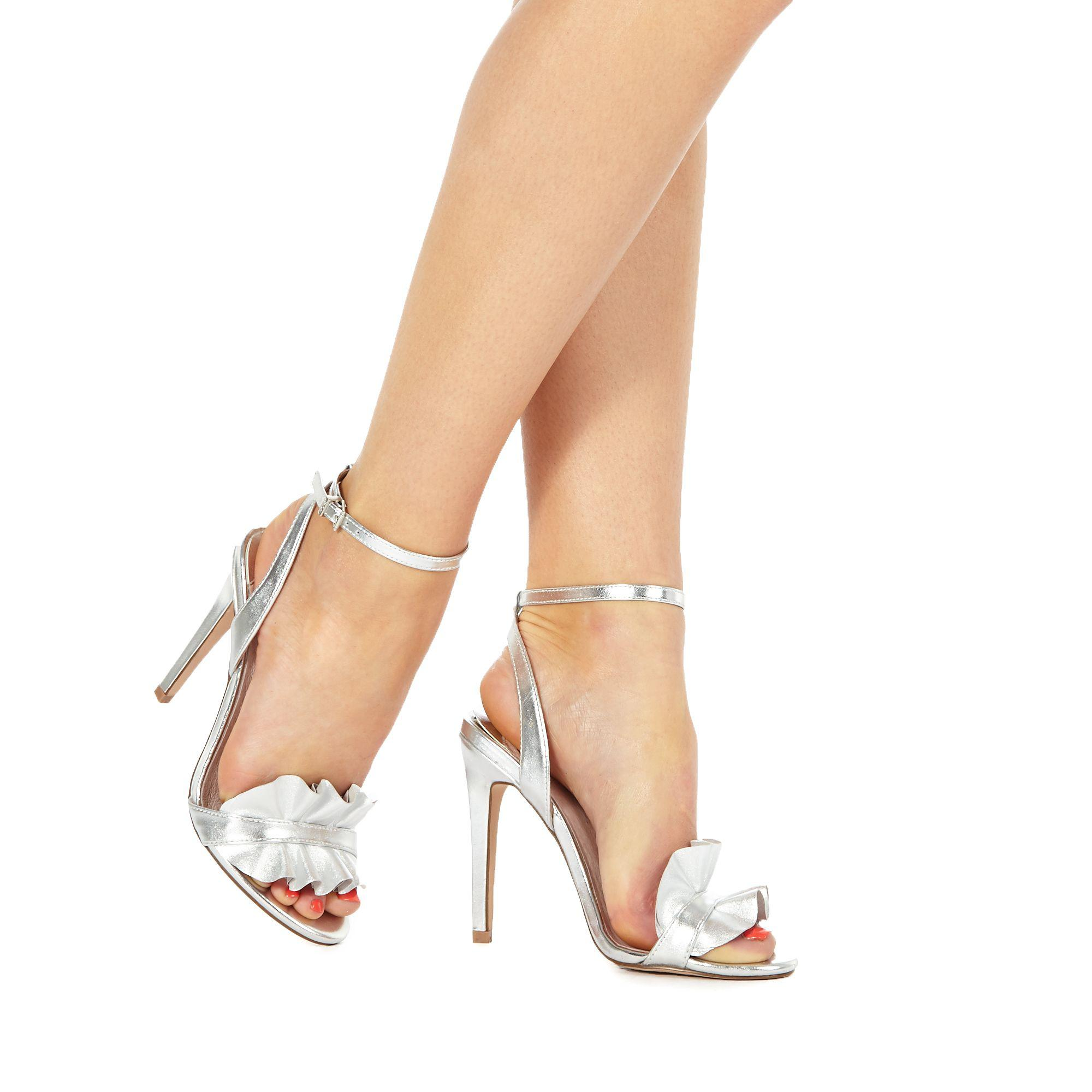 82ee1729e63 Faith Silver Leather  dancer  High Stiletto Heel Ankle Strap Sandals ...