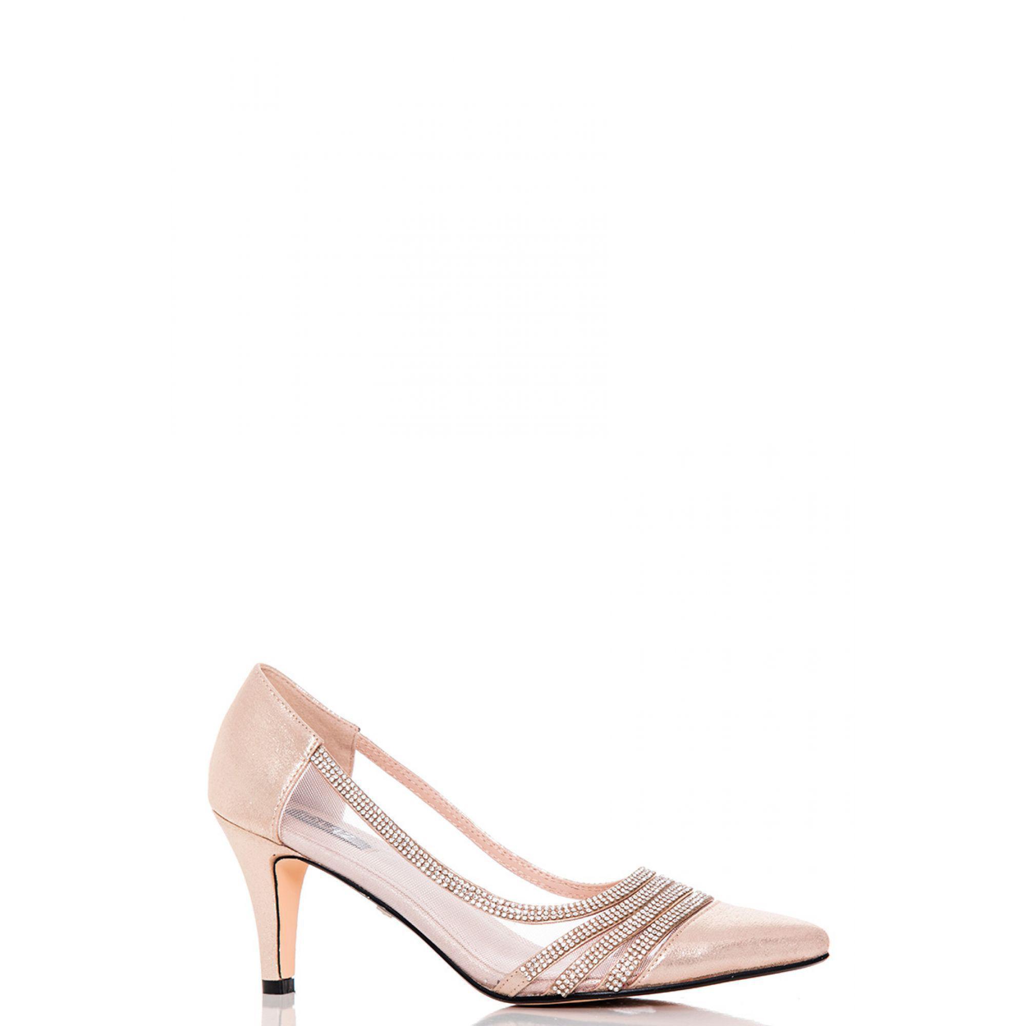 385699caa4e Quiz. Women s Metallic Gold Shimmer Diamante And Mesh Low Heel Court Shoes