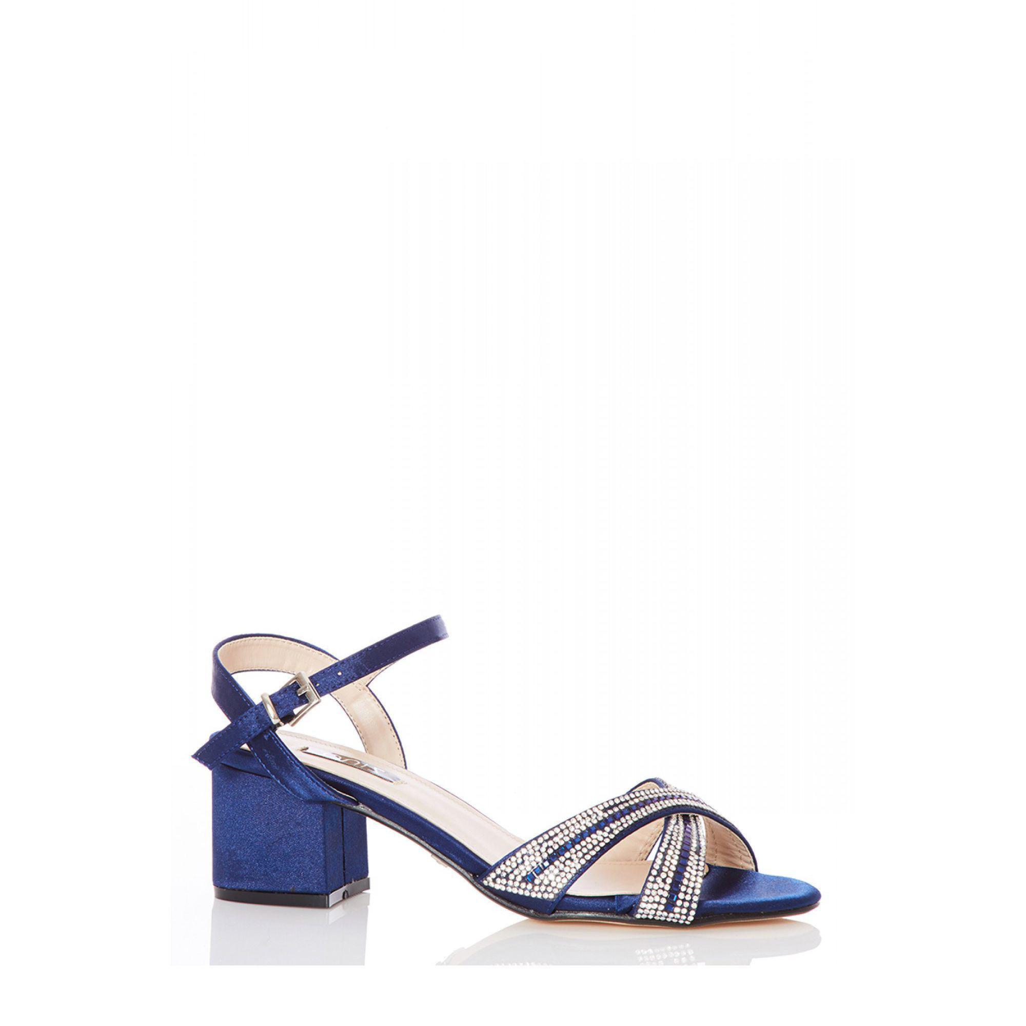 6cc1a7383 Quiz Navy Satin Diamante Mid Heels Sandals in Blue - Lyst