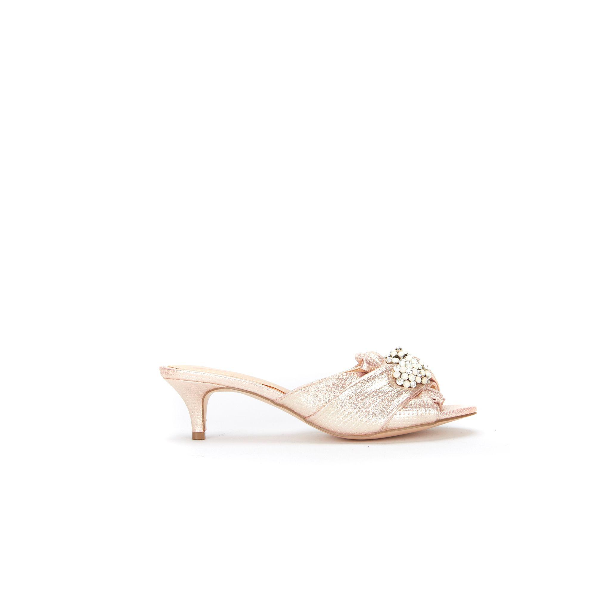 a51c127d5 Wallis Pale Pink Kitten Heel Mule With Jewel Trim in Pink - Lyst
