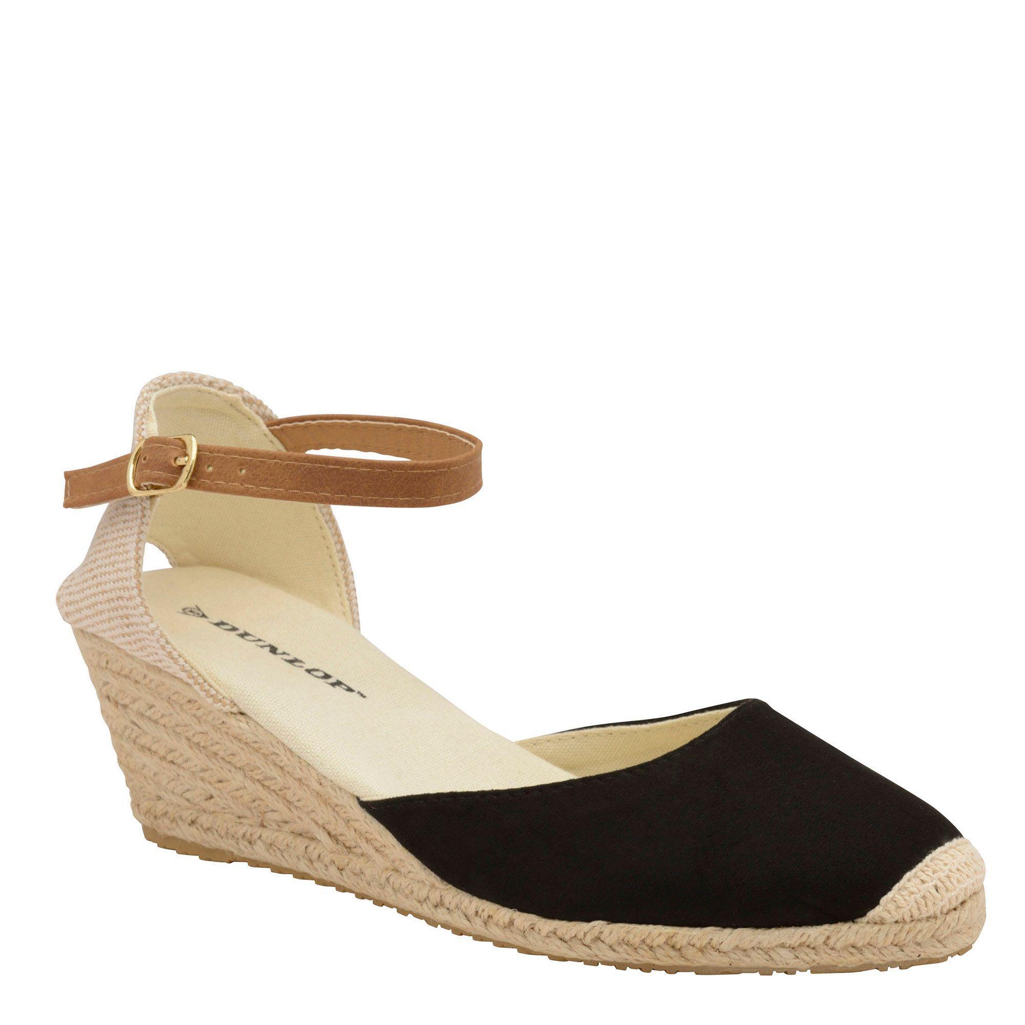 860fd0a63b Dunlop Black Microfibre 'rana' Wedge Sandals in Black - Save 33% - Lyst