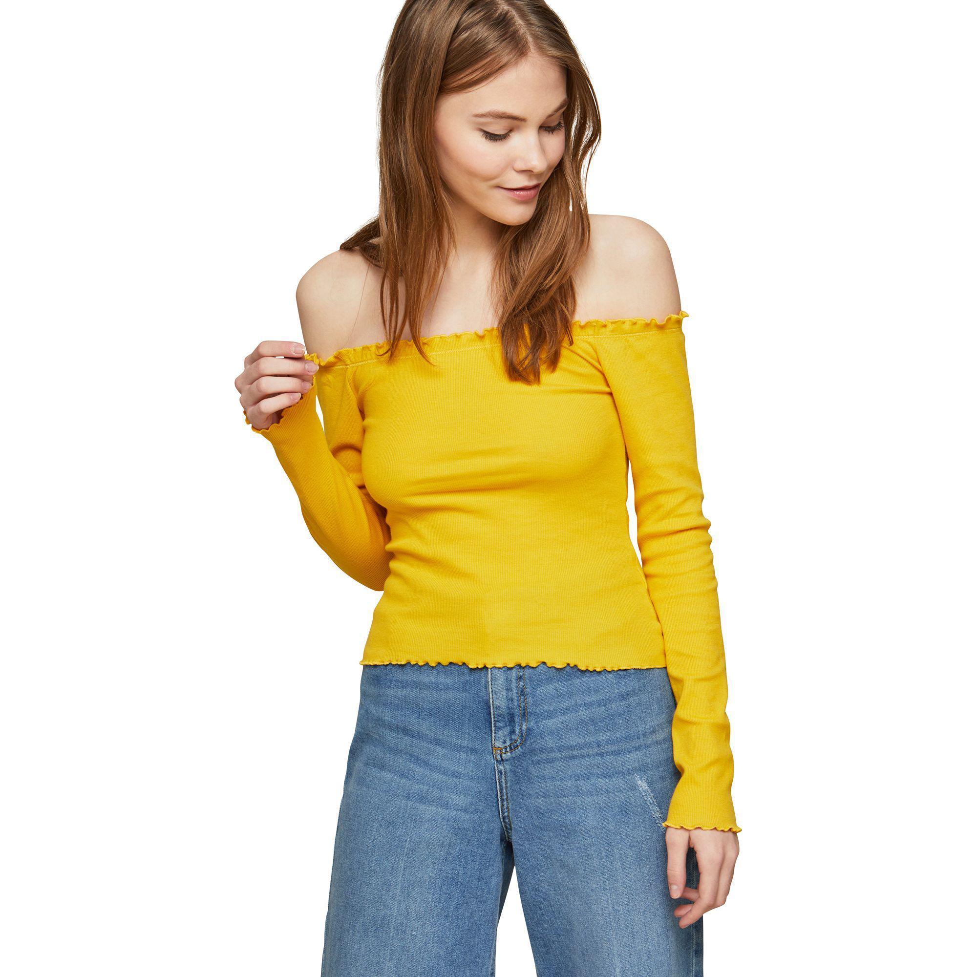 1f2394bd8c5 Miss Selfridge Long Sleeve Lettuce Bardot Top in Yellow - Lyst