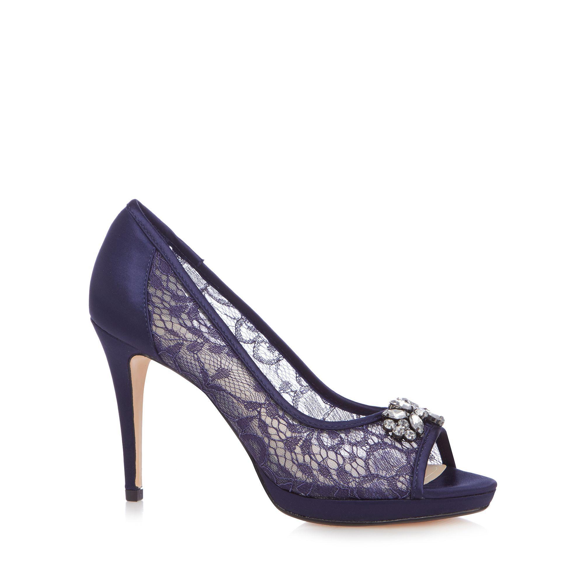 e0f55b67f515 Début Navy Lace  doreen  High Stiletto Heel Peep Toe Shoes in Blue ...