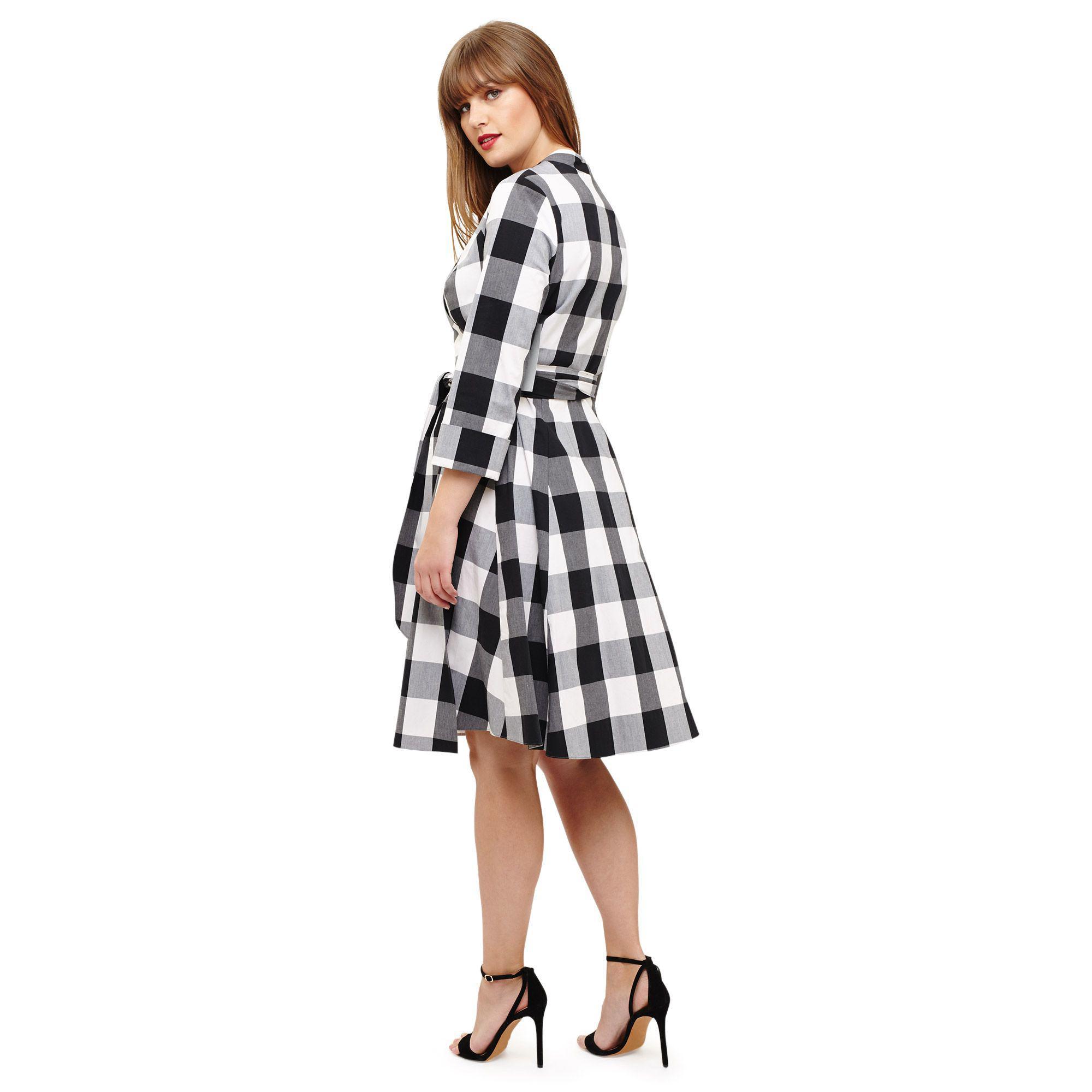 f8475fea28690 Studio 8 - Sizes 12-26 Black Alice Gingham Dress - Lyst. View fullscreen