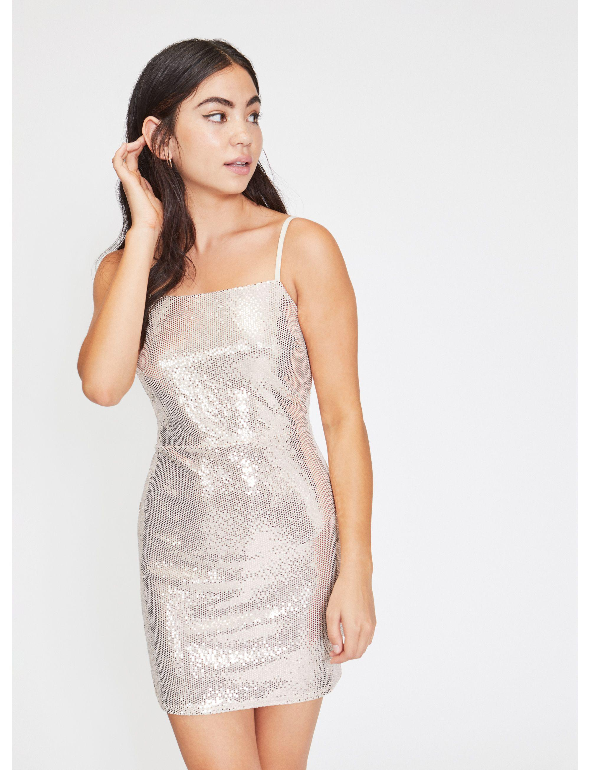 09078612 Miss Selfridge. Women's Metallic Petite Gold Sequin Square Neck Dress